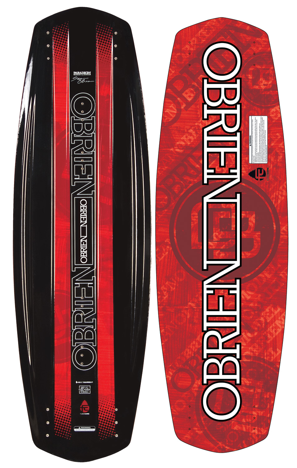 Wake Looking for a board that will match your levels of style and performance? Grab the O'Brien Paradigm Wakeboard and don't look back! In the past, boards that were great on the obstacles suffered off the wake and vice versa. Not anymore! The Paradigm forges a unique union between wake and park riding, a board equally at home shredding rails or boosting off the double up. Featuring our new Fusion Core with top-to-bottom full-length wood stringers, we utilize a heavily ribbed cross-section and tapered geometry to give the right amount of flex to the board. The result is a board that is stiff through the midsection with flexible, snappy tips, allowing the board to carve with incredible energy and accelerated boot off the wake. With HDPE (High Density Polyethylene) base and rails, the Paradigm is as durable as they come and is quickly becoming an O'Brien team favorite. Wakeboard Binding CompatabilityCan accomodate bindings with a 6 inch binding plate found here. Can only accommodate a single mounting position option for Liquid Force bindings with a 8 inch binding plate and offers two positions for all other vendors found here. - $239.95