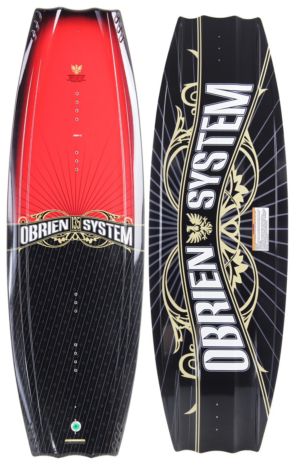 Wake The O'Brien System Wakeboard is a favorite of our progressing riders! The System is designed for the intermediate level wakeboarder, but is packed with high performance features that will make learning new moves easier. A predictable continuous rocker line and single long-base center fin provide a classic on-water feel. Added control is provided by double barrel channels that exit at the tips of the board. 4 molded side fins have been included help with the stability factor, so you can shred without the fear of wiping out! A unique shape makes it easy to ride deep and smooth in the water, and keeps high impact landings extra soft! The O'Brien System Wakeboard will take your riding to new heights! Wakeboard Binding CompatabilityCan not accomodate bindings with a 6 inch binding plate. Can accommodate bindings with a 8 inch binding plate in all position options found here. - $112.95
