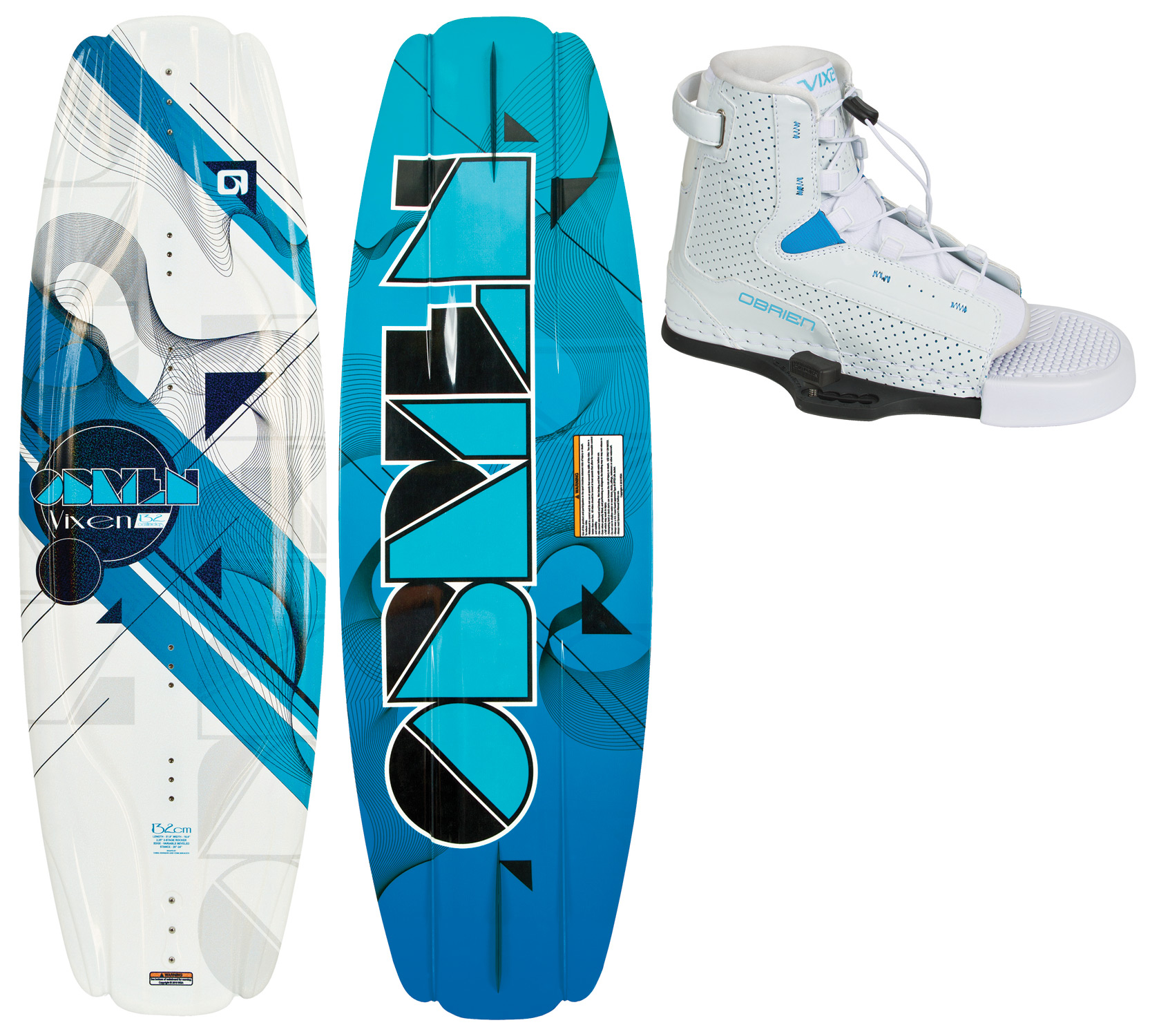 "Wake The Vixen has all the features of our justly famous Clutch board, tuned for the ladies. Extended refined molded-in fins give the smoothest control, and ""pop"" comes extra-easy with the 3-stage rocker.Key Features of the O'Brien Vixen Wakeboard: Length (cm): 132, 137 Tip Width (cm): N/A Mid Width (cm): 42.2 (132), 42.5 (137) Rocker (cm): 2.25 3-Stage (132), 2.35 3-Stage (137) Key Features of the O'Brien Vixen Wakeboard Bindings: Open Toe Design For More Fit Flexibility. Free-Flex Tongue Opens Wide For Easy Entry. Integrated Liner. Cmeva Outsole. Comfort Footbed. •Captive Thumbscrew System – Never Lose Your Mounting Hardware Again! - $269.95"