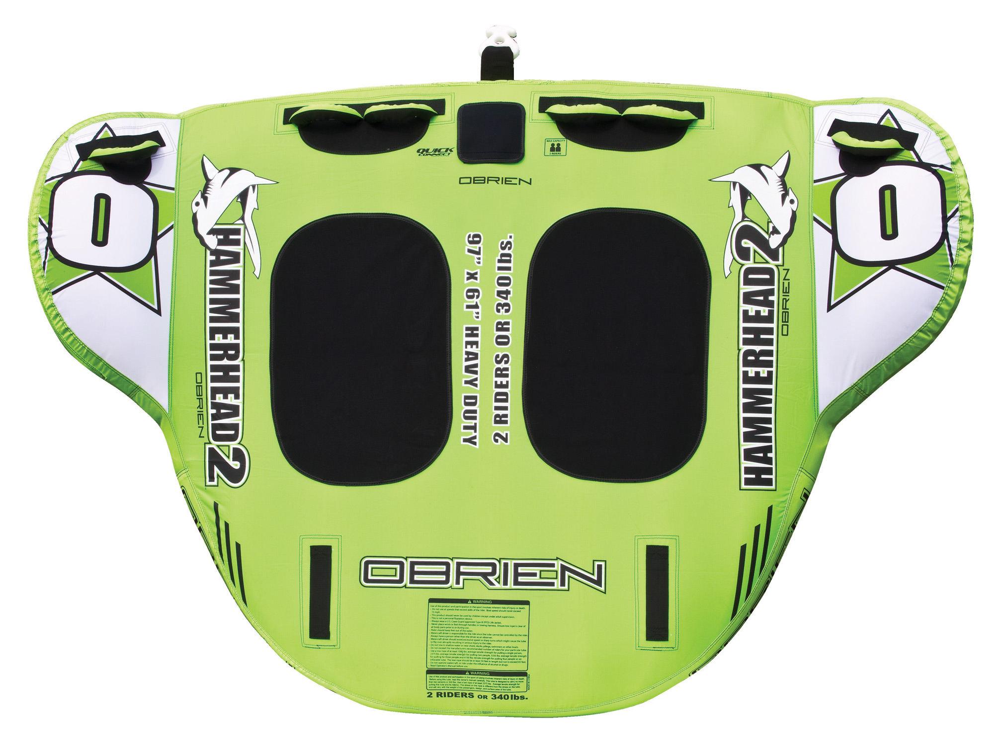 "Key Features of the O'Brien Hammer Head 2 Tube: 61"" X 97"" 2 Rider 28 Gauge Pvc Fully Covered 420/840 D Nylon 6 Handles W/ Eva Knuckle Guards 2 Eva Pads 1 Quick Connect Tow Hook 1 Boston Valve One Year Limited Warranty - $169.99"
