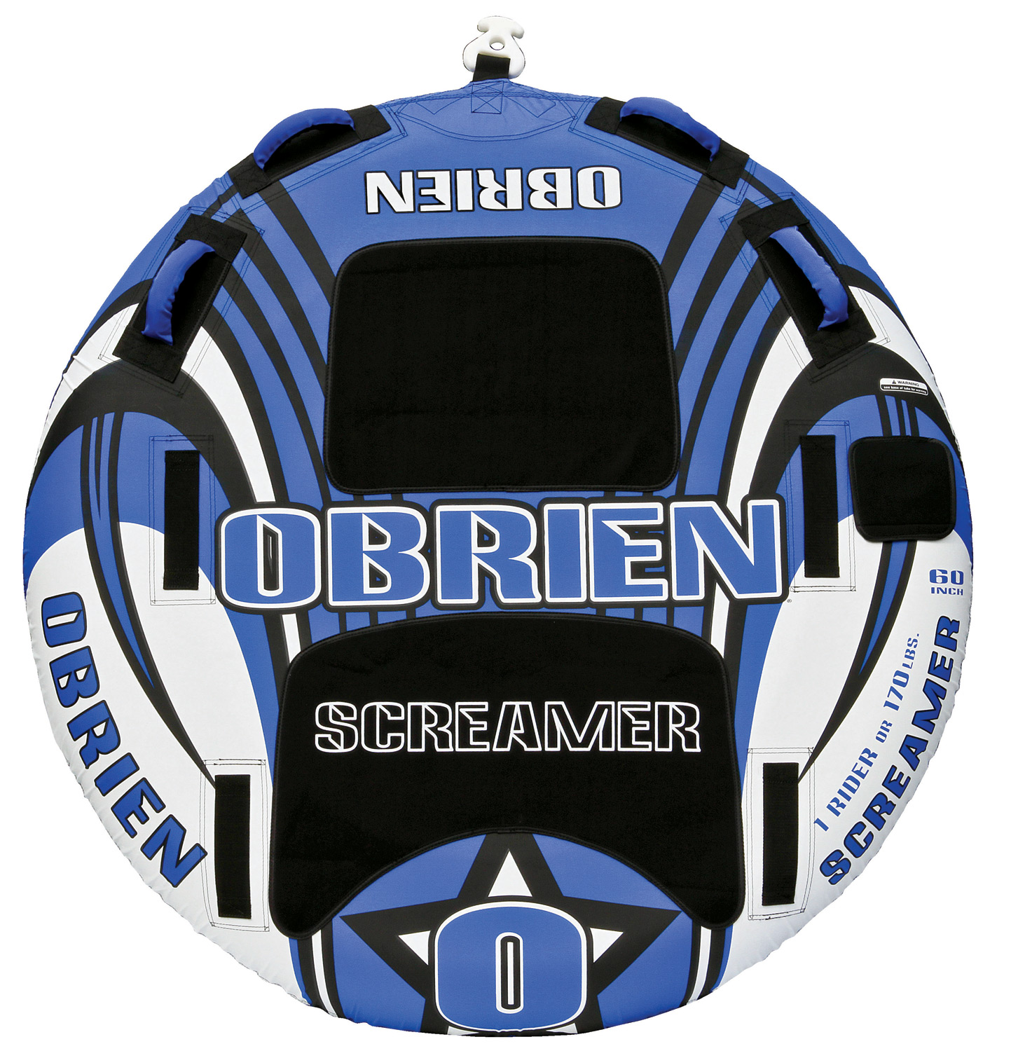 "Key Features of the O'Brien Screamer Tube: 60"" 1 Rider 26 Gauge Pvc Fully Covered 420 D Nylon 4 Handles W/ Eva Knuckle-Guards 2 Eva Pads 1 Quick Connect Hook 1 Boston Valve One Year Limited Warranty - $119.99"
