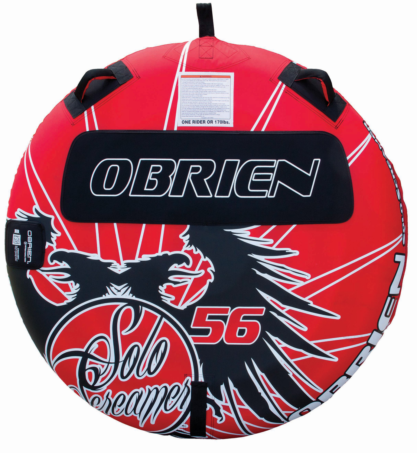 "The O'Brien Solo Screamer Tube is designed for the single rider who wants to own his own adventure. This heavy duty tube is made from durable PVC plastic and has two handles that are important for keeping the rider aboard. The handles, though, are also built to protect the knuckles from scrapes and bruises. With a small pad to ensure comfort, this tube is perfect for the water-loving athlete who prefers comfort when tubing on the lake.Key Features of the O'Brien Solo Screamer Tube:  56""  1 Rider  24 Gauge PVC  Fully Covered 420 D Nylon  2 Handles with EVA Knuckle-Guards  EVA Pad  1 Boston Valve  One Year Limited Warranty - $99.99"