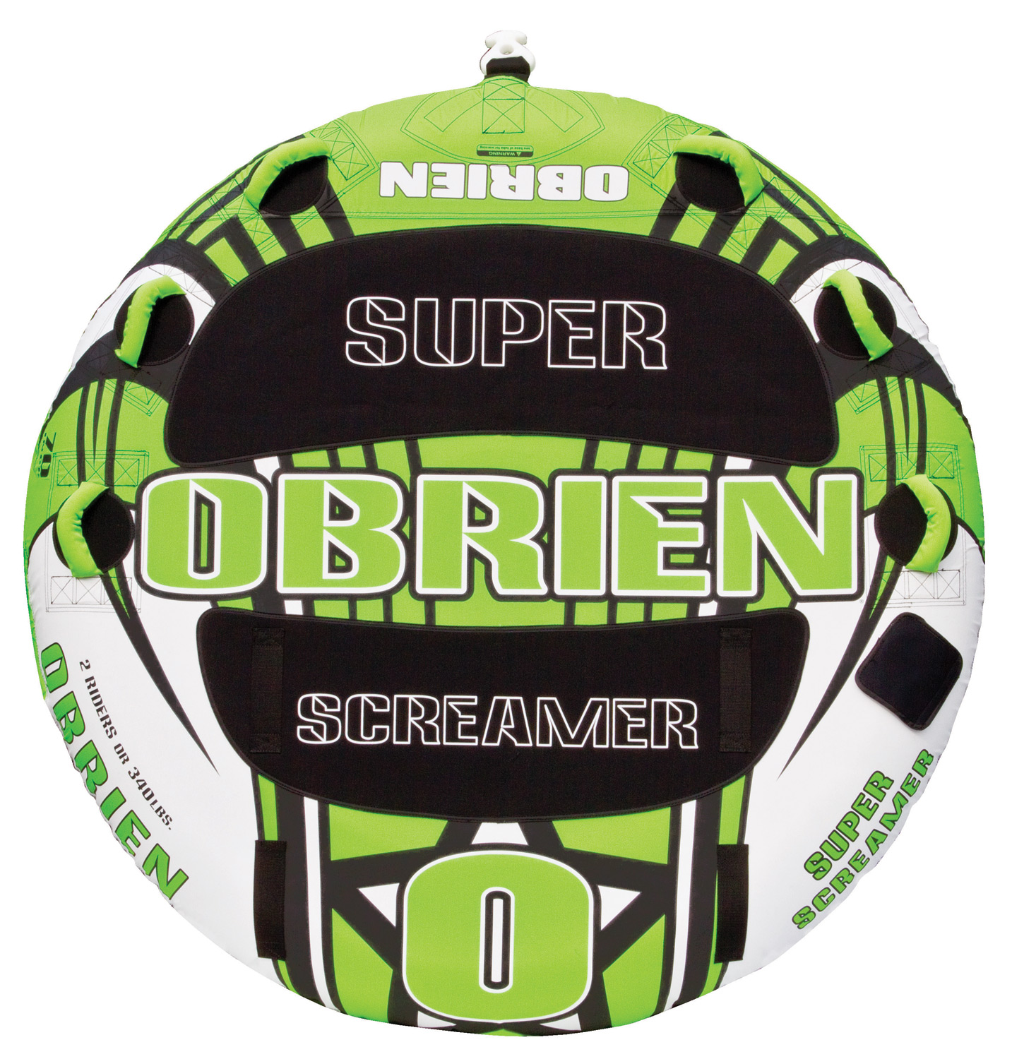 "Key Features of the O'Brien Super Screamer Tube: 70"" Up To 2 Riders 26 Gauge Pvc Fully Covered 420 D Nylon 6 Handles W/ Eva Knuckle Guards 2 Eva Pads 1 Quick Connect Hook 1 Boston Valve One Year Limited Warranty - $135.95"