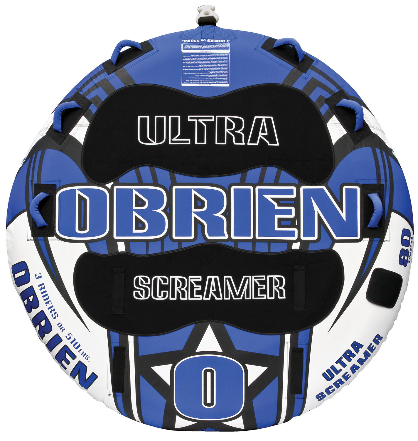 "Key Features of the O'Brien Ultra Screamer Tube: 80"" Up To 3 Riders 28 Gauge Pvc Fully Covered 840 D Nylon 6 Handles W/ Eva Knuckle Guards 2 Eva Pads 1 Quick Connect Hook 1 Boston Valve One Year Limited Warranty - $229.99"