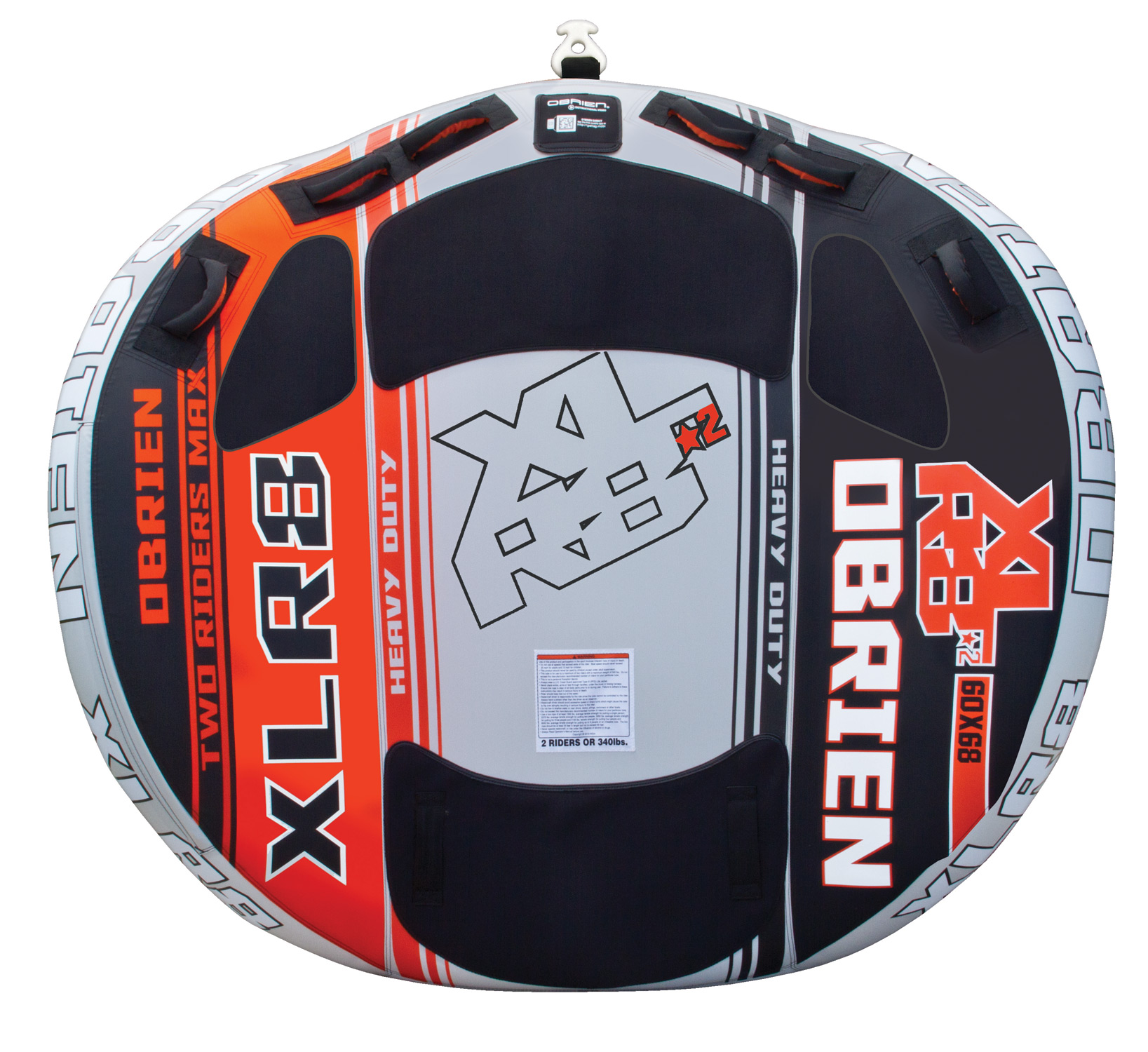 "Key Features of the O'Brien XLR8 2 Tube: 60""X68"" Up To 2 Riders 30 Gauge Pvc Fully Covered 840/420 D Nylon 6 Handles W/ Eva Knuckle Guards 3 Eva Pads 1 Quick Connect Tow Hook 1 Boston Valve One Year Limited Warranty - $214.95"