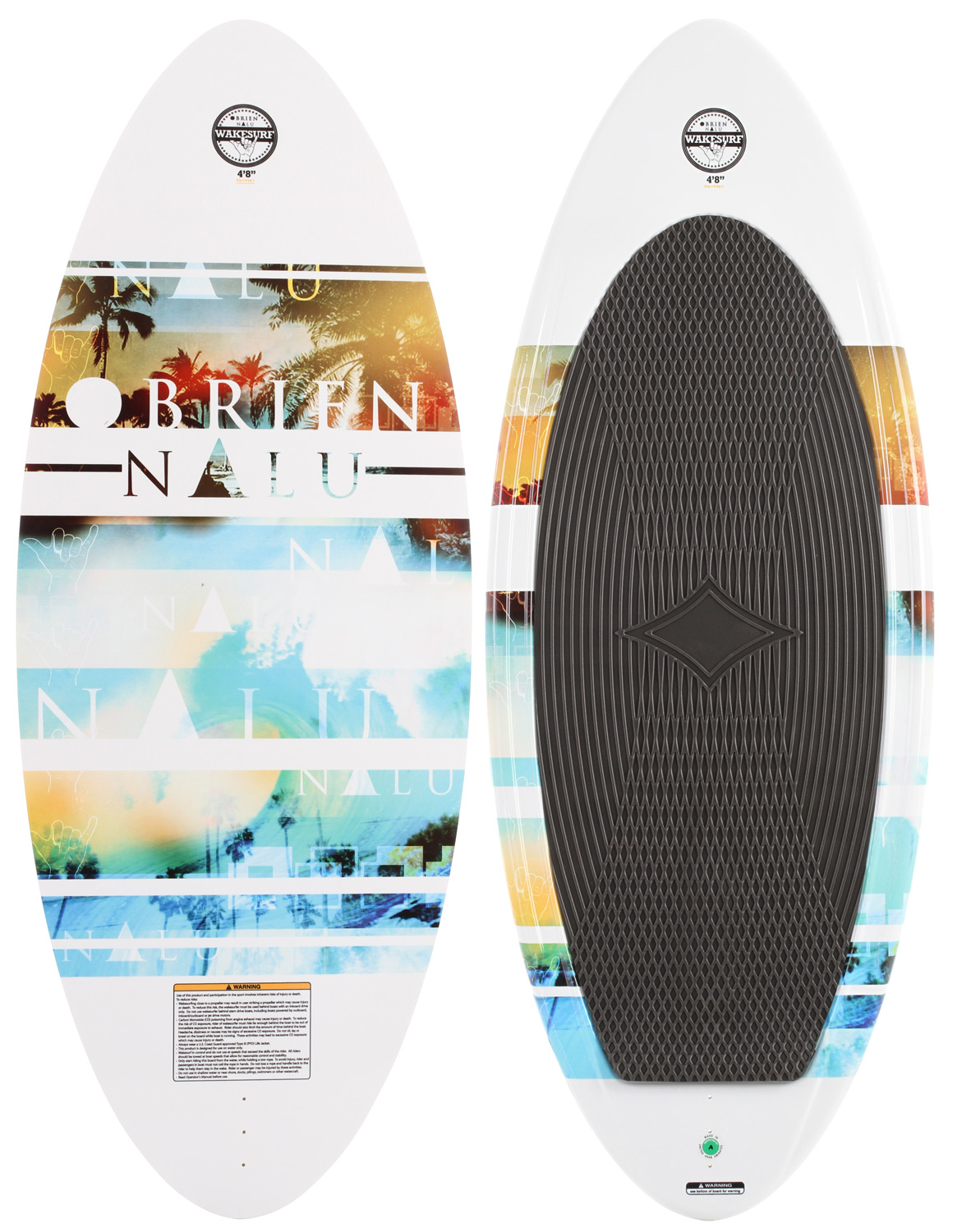 "Wake The Nalu Wake Surfer features an all new rocker profile, pushing the flat spot further forward and creating a board that excels on wakes large, small, and everywhere in between. Featuring a completely flat bottom and a single fin setup, the Nalu carries speed up the face of the wave, waiting for your latest move. Whether you're just cruising behind the boat, or ripping like a pro - the Nalu delivers.Key Features of the O'Brien Nalu Wakesurfer: Length (in): 4'8"", 5'4"" Tip Width (cm): N/A Mid Width (cm): 51.8 (4'8""), 54.6 (5'4"") Rocker (cm): 2.1 Skim (4'8""), 2.3 Skim (5'4"") - $199.95"