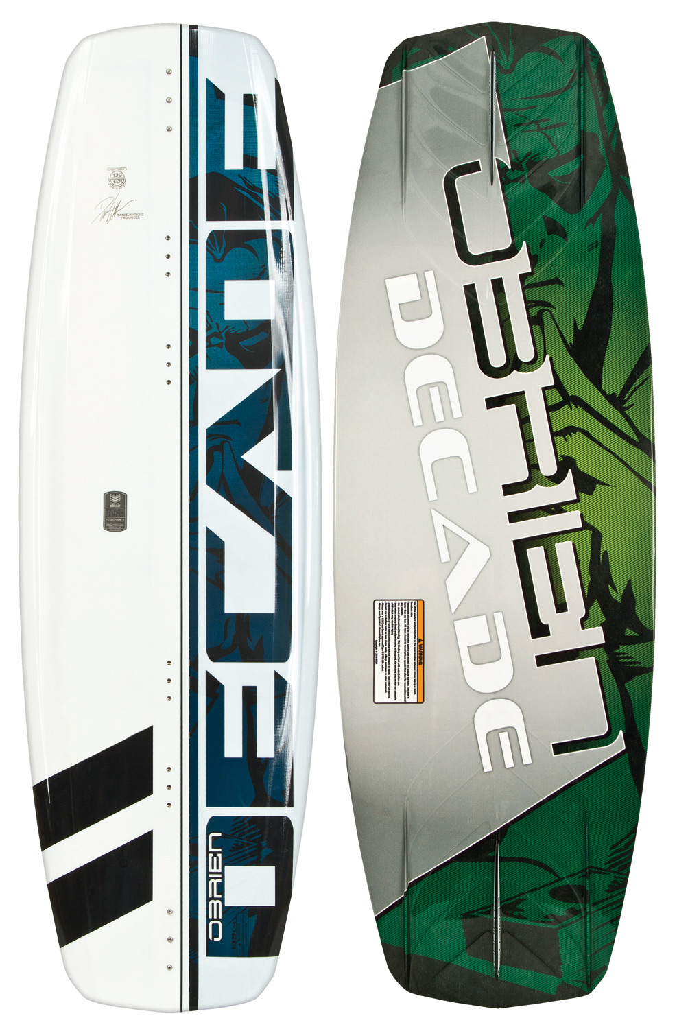 "Wake The O'Brien Decade Wakeboard is quickly becoming the board of choice for both freeride and competitive riders. Incorporating 11 years of collective development and the most extensive prototyping ever performed on an O'Brien board, the Decade pushes the envelope of thought and progression of wakeboard design. The variable edge profile is wide through the center 14"" of the board and quickly tapers to a more refined edge from the boot position to the tips of the board. This gives the board a unique float feel when centered, transferring to deep-set edge when carving. The expanded Delta base keeps a clean water break off the tail of the board, reducing rocker-induced drag and providing optimum release off the wake. The molded fins are as thin as possible for minimal drag and optimum control, and are combined with a 3-stage rocker for just the right amount of kick. The Clean V bottom through the center of the board makes landings buttery soft. The O'Brien Decade Wakeboard, a sure crowd pleaser on the water this season!* Variable edge profile * Expanded DELTA base * Thin molded fins * 3-stage rocker * Clean V bottom * Wakeboard Binding Compatibility * Can accommodate bindings with a 6in binding plate * Can only accommodate a single mounting position option for Liquid Force bindings with a 8in binding plate and offers two positions for all other vendors - $187.95"