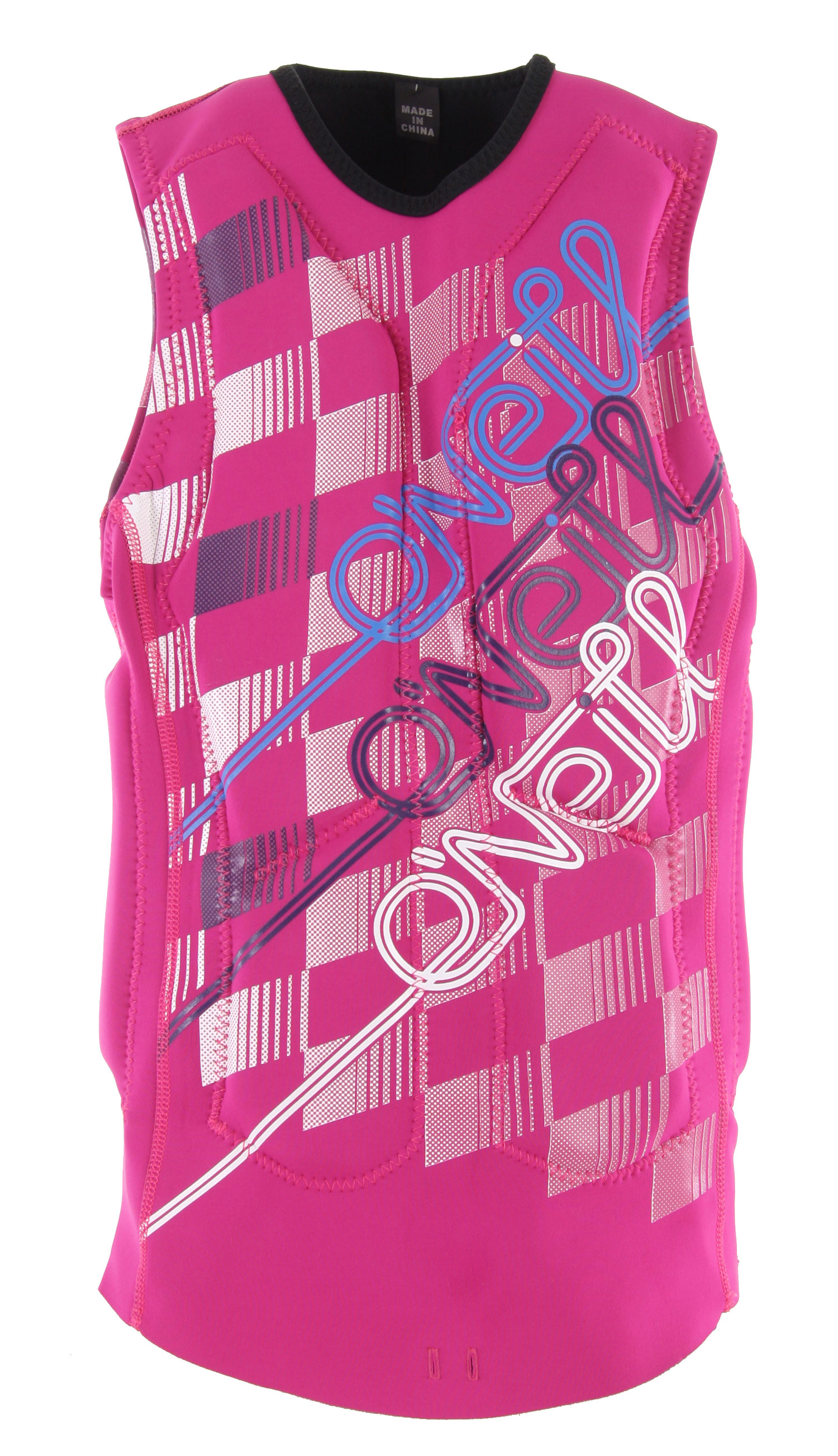 Wake Wakeboard in style with this O'Neill Gooru Padded Wakeboard Vest for women. Enjoy an active lifestyle and look good doing it. The vest features a 100% Ultra Flex DS and a zipper less and buckle free pullover design. With a segmented foam core and anatomical flex points, the vest will provide the protection needed when wakeboarding. The vest is reversible for multiple style options and has strategic armhole sizes and a board short connector for added security.Key Features of the O'Neill Gooru Padded Wakeboard Vest: Comp Vest 100% UltraFlex DS Zipperless and Buckle-free pull over design Reversible Segmented foam core Anatomical flex points Strategic armhole size Boardshort connector - $90.95