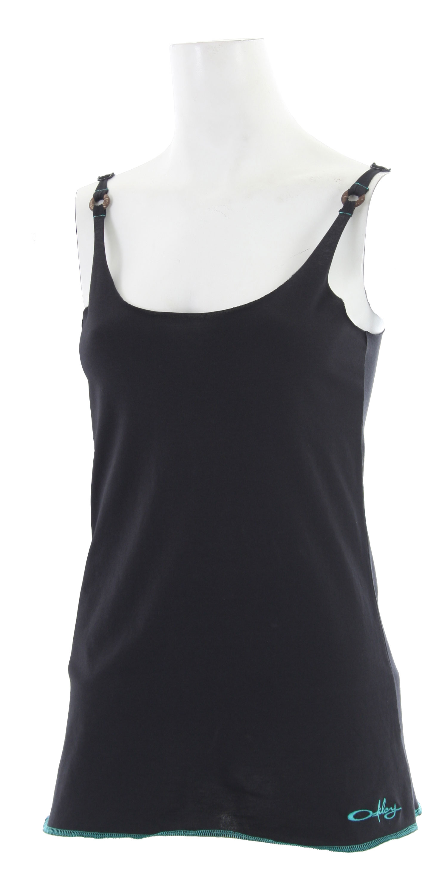 Surf Key Features of the Oakley Slider Tank Top: Solid color tank top with wrapped ring trim Adjustable strap length Rounded U neck Raw edge detail Embroidered logo on front - $15.95