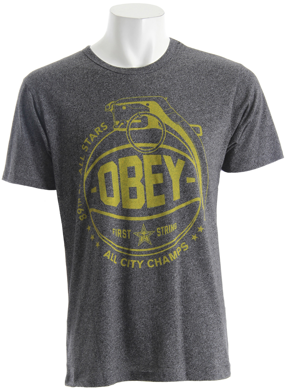OBEY extra soft, lightweight, slim-fit tee with salt and pepper effect and bound neck and armholes. 50% Polyester / 50% Cotton - $27.95