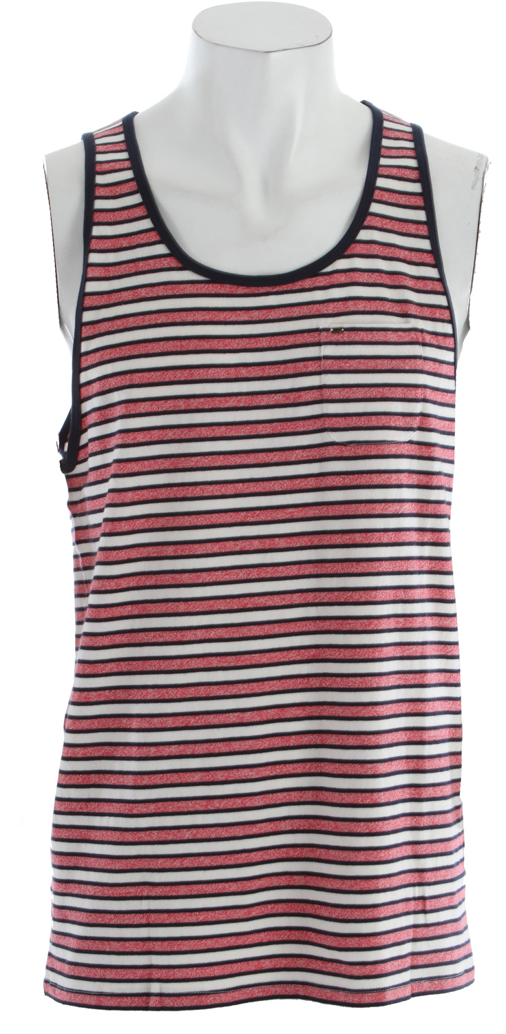 Surf Key Features of the Obey Kinley Tank: Vintage inspired slim fit tank with mock twist stripes Contrast neck binding Chest pocket with antique brass modern badge and contemporary neck label 100% Cotton - $28.95