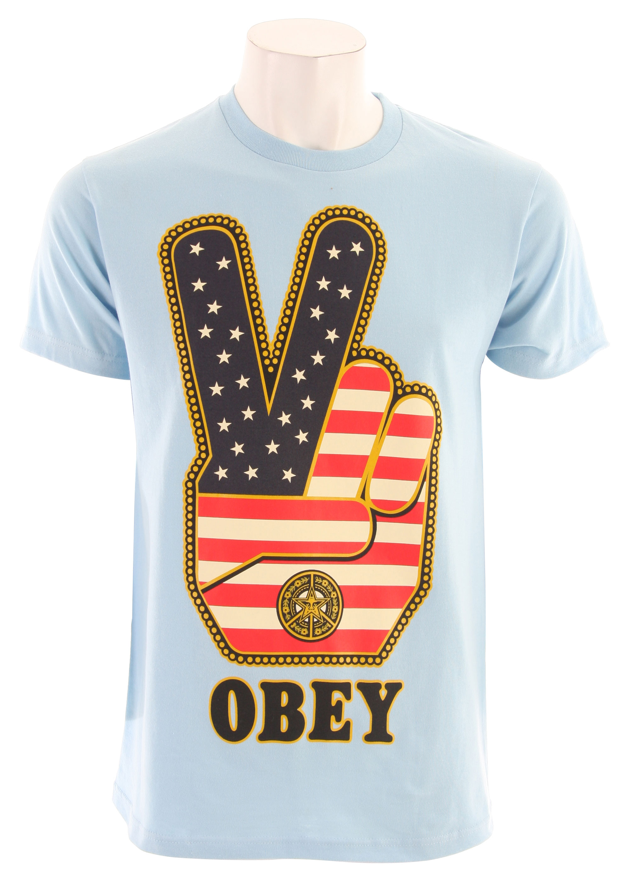 Key Features of The Obey Peace Fingers USA T-Shirt: Regular Fit Crew Neck Short Sleeve Body: 50% Polyester/25% Cotton/25% Rayon Sleeves: 100% Cotton Tri-blend raglan with color blocked, 3/4 sleeves Custom screenprint - $20.95