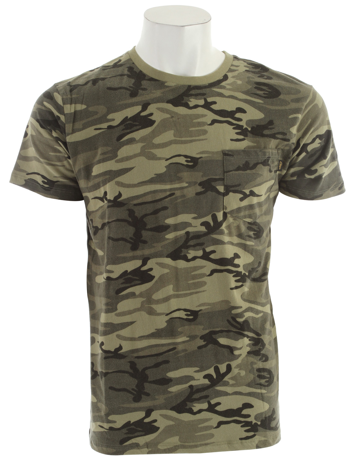 Key Features of the Obey Camo Pocket T-Shirt: Slim fit, lightweight pocket tee with rib crew neck Old Timey flag label at chest pocket 100% Cotton - $27.95