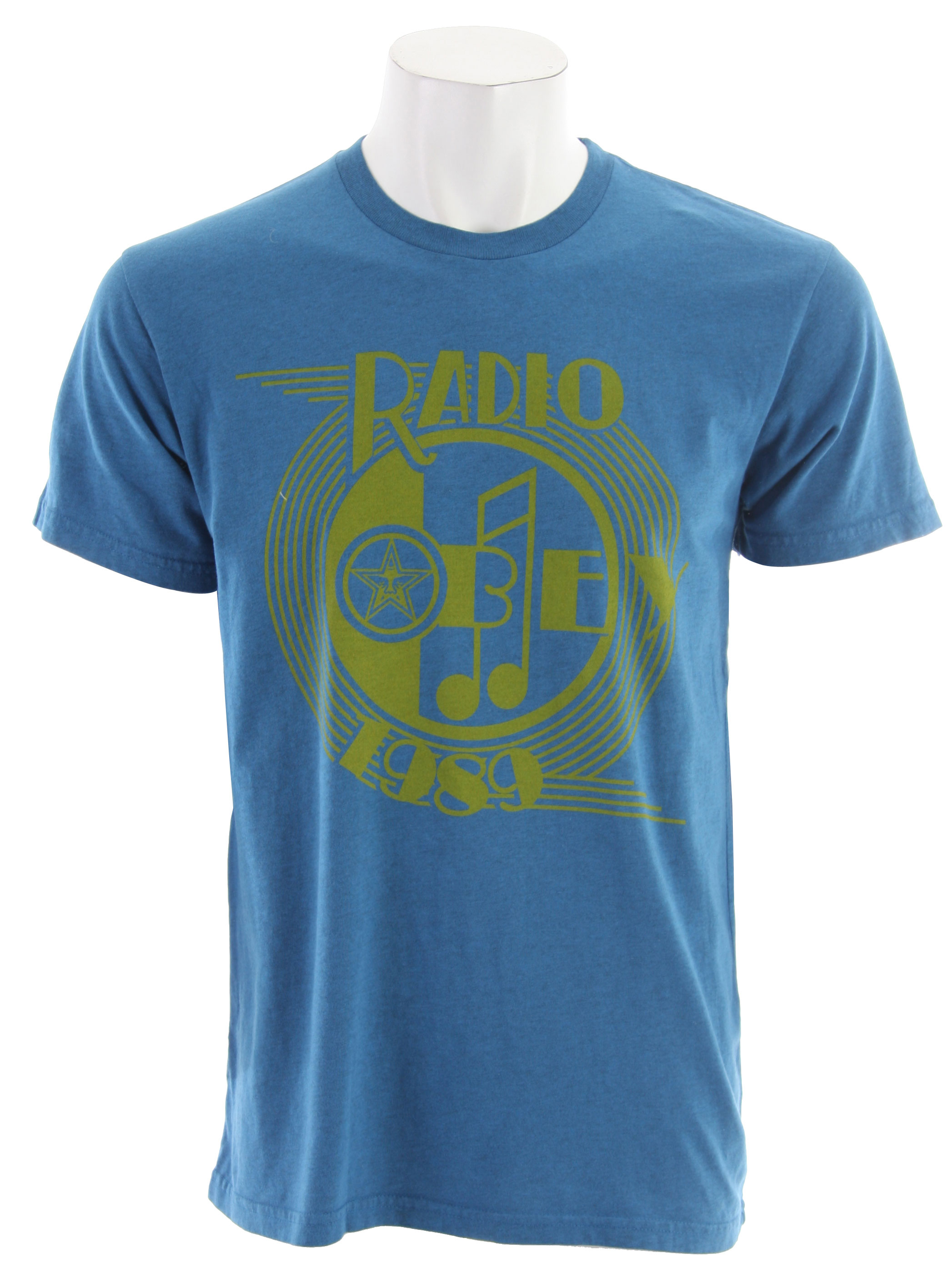 Key Features of The Obey AM Radio T-Shirt: Slim Fit Crew Neck Short Sleeve Obey lightweight, slim fit Ribbed crew neck Heather pattern & pigment dye for an ol skool look 90% cotton/10% polyester - $23.95