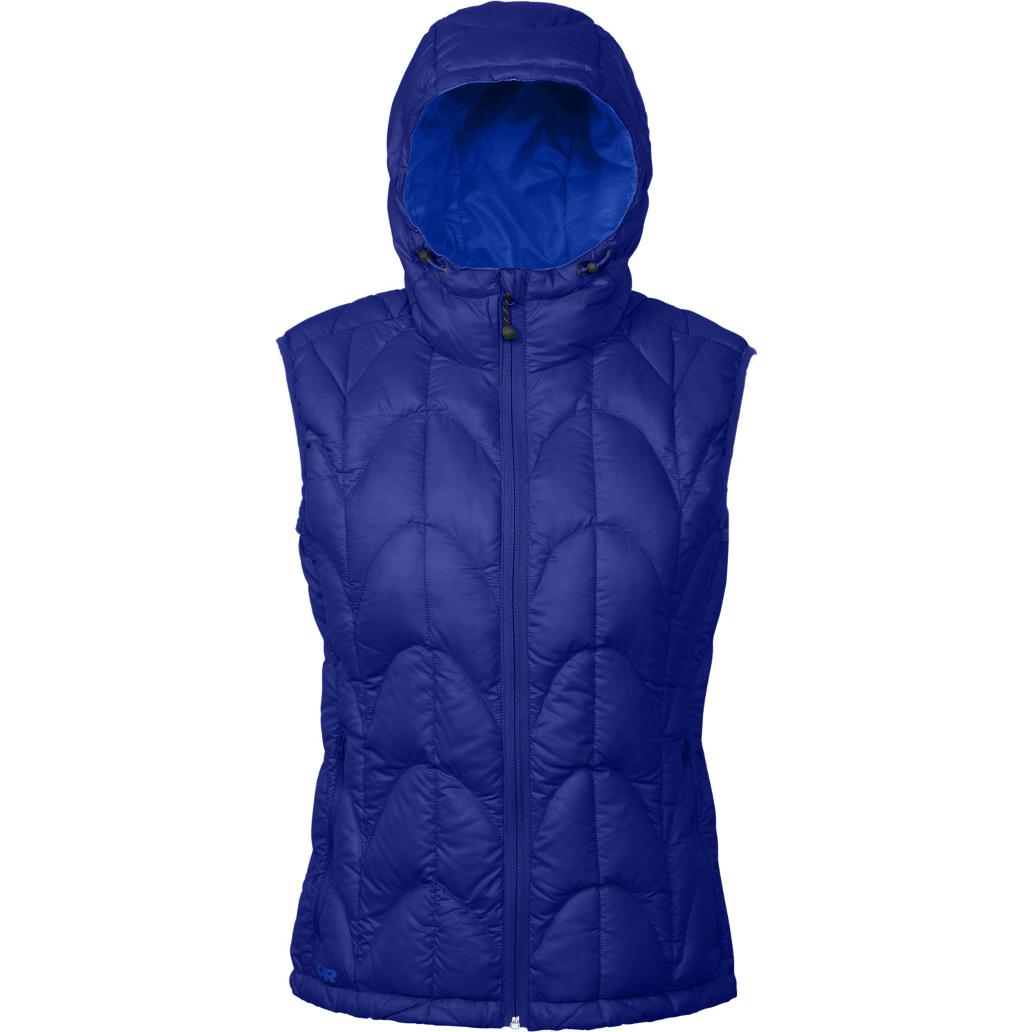 "When a down jacket is overkill, turn to this ultralight, ultra-packable vest for warmth in the backcountryKey Features of the Outdoor Research Aria Vest: 20D, 100% polyester ripstop shell 650+ fill down insulation Ultralight shell Adjustable hood Internal front zip stormflap Multiple pockets: handwarmer, internal Elastic cuffs Drawcord hem Stuff sack included (M) 9.7 oz. / 274 g STANDARD FIT CENTER BACK LENGTH: 26"" / 65 cm - $114.95"