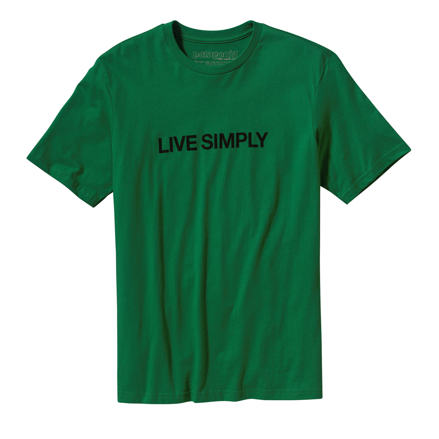"No cute animals here, Live Simply"" with text only. Original art by Geoff McFetridgeKey Features of the Patagonia Live Simply Text T-Shirt Shamarock Green:  Screen-print inks are PVC- and phthalate-free  Taped shoulder seams for comfort  Artist: Geoff McFetridge  Slim fit  fabric: 4.4-oz 100% organic cotton - $20.95"