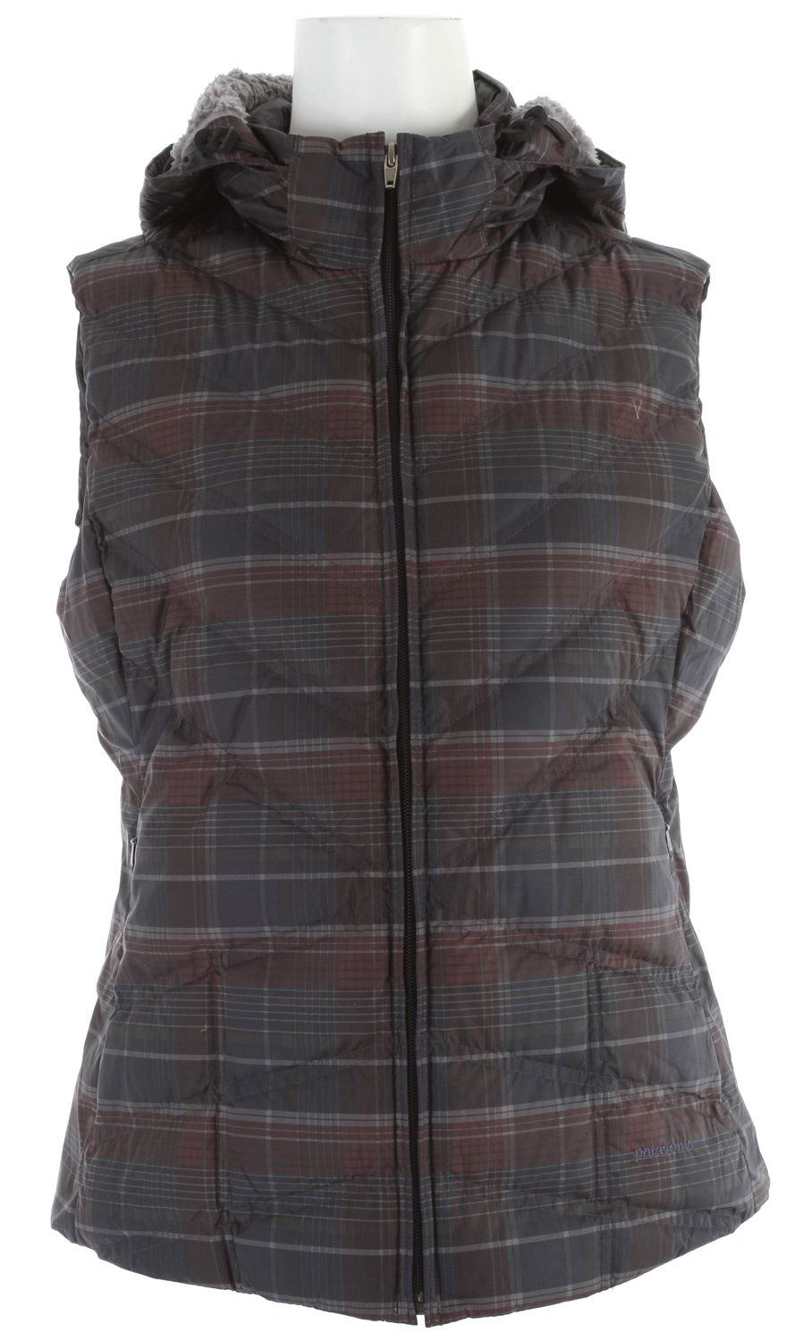 Our Down With It Vest is made with an all-recycled polyester shell and 600-fill-power premium European goose-down insulation, and comes with a removable hood.  After a frigid North Coast session, re-warm your core in the Down With It Vest. The all-recycled polyester shell is treated with a Deluge DWR (durable waterproof repellent  finish to shed moisture; 600-fill-power premium goose-down insulation provides serious warmth. The removable hood is lined with luscious deep-pile fleece and adjusts with two drawcords. Diagonal chevron quilting lends a contoured fit; non-quilted side panels provide a sleek silhouette. Pockets: zippered on-seam handwarmers and an internal zippered security.Key Features of the Patagonia Down With It Vest:  100% recycled polyester shell insulated with 600-fill-power premium European goose down  Adjustable, removable hood lined with high-pile fleece  Zippered on-seam handwarmer pockets; internal zippered security pocket  Diagonal chevron quilting for contoured fit; side panels are not quilted for a sleek silhouette  Hip length  2.3 oz 100% recycled polyester with a Deluge DWR (durable water repellent  finish. Insulation: 600-fill-power premium European goose down. Hood lining: 100% polyester fleece  425g (15 oz   Made in China.  Recycled Polyester: We recycle used soda bottles, unusable second quality fabrics and worn out garments into polyester fibers to produce many of our clothes.  Deluge DWR: Patagonia's proprietary durable water repellent fabric finish, Deluge DWR, lasts substantially longer than standard DWRs. Garments with the Deluge DWR finish have like-new repellency after years of extensive use. - $123.95