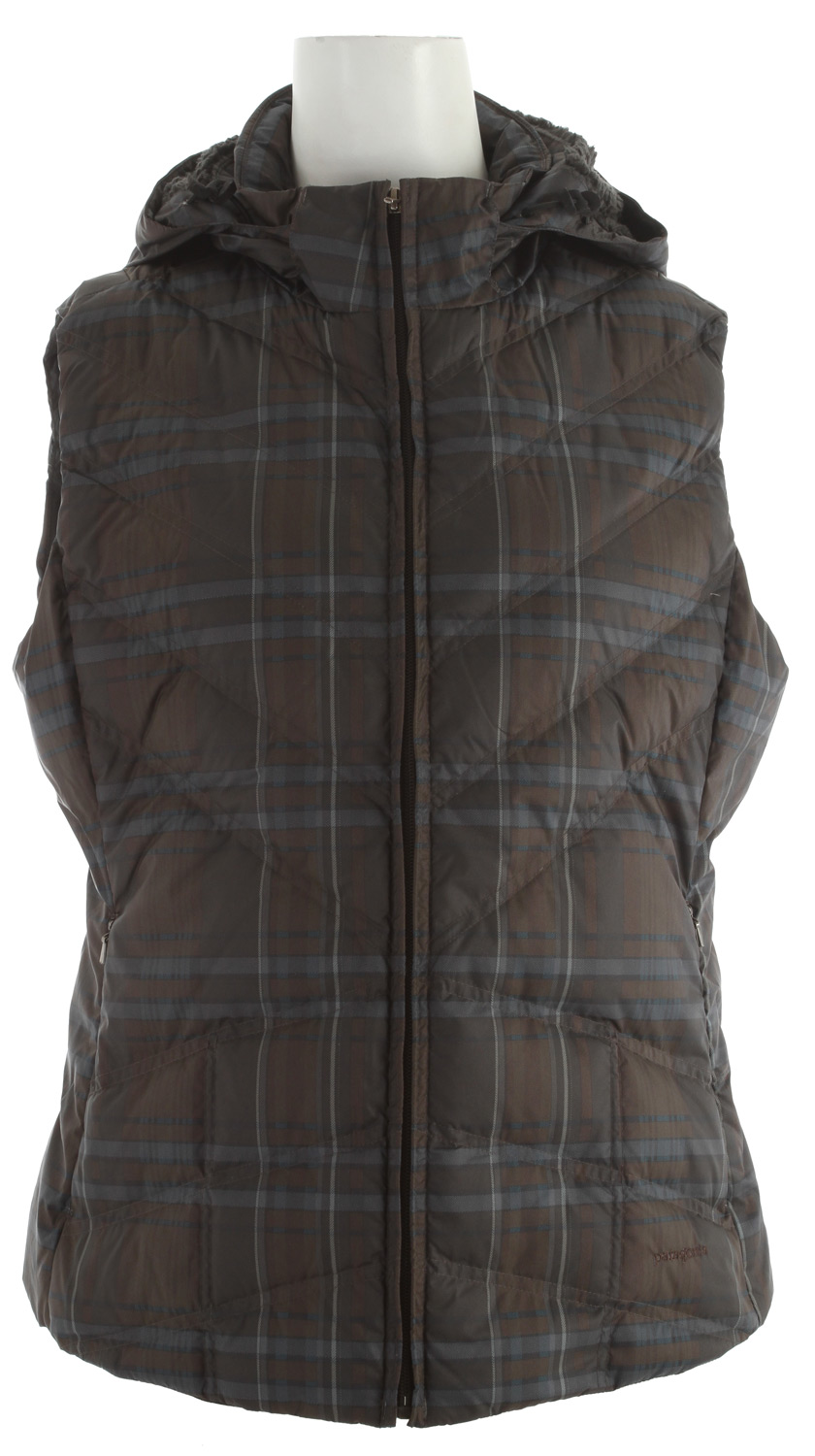Our Down With It Vest is made with an all-recycled polyester shell and 600-fill-power premium European goose-down insulation, and comes with a removable hood. After a frigid North Coast session, re-warm your core in the Down With It Vest. The all-recycled polyester shell is treated with a Deluge DWR (durable waterproof repellent) finish to shed moisture; 600-fill-power premium goose-down insulation provides serious warmth. The removable hood is lined with luscious deep-pile fleece and adjusts with two drawcords. Diagonal chevron quilting lends a contoured fit; non-quilted side panels provide a sleek silhouette. Pockets: zippered on-seam handwarmers and an internal zippered security.Key Features of the Patagonia Down With It Vest: 100% recycled polyester shell insulated with 600-fill-power premium European goose down Adjustable, removable hood lined with high-pile fleece Zippered on-seam handwarmer pockets; internal zippered security pocket Diagonal chevron quilting for contoured fit; side panels are not quilted for a sleek silhouette Hip length 2.3 oz 100% recycled polyester with a Deluge DWR (durable water repellent) finish. Insulation: 600-fill-power premium European goose down. Hood lining: 100% polyester fleece 425g (15 oz) Made in China. Recycled Polyester: We recycle used soda bottles, unusable second quality fabrics and worn out garments into polyester fibers to produce many of our clothes. Deluge DWR: Patagonia's proprietary durable water repellent fabric finish, Deluge DWR, lasts substantially longer than standard DWRs. Garments with the Deluge DWR finish have like-new repellency after years of extensive use. - $98.95