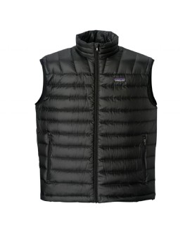 Simple: ultralight core warmth. The Patagonia Down Sweater vest's minimalist design practically floats, its 800-fill-power down traps heat in alpine conditions, and it's so compact it stuffs into a stretch-mesh internal pocket (with a carabiner clip-in loop). The innovative 100% recycled polyester shell with a Deluge DWR (durable water repellent) finish provides wind and water protection as well as a high tear-strength; quilting stabilizes the down. With zippered handwarmer pockets and a drawcord hem.Key Features of the Patagonia Down Sweater Vest: Superlight, windproof and water-resistant shell has high-tear strength Quilted construction stabilizes 800-fill-power premium European goose down Updated center-front zipper for improved durability Pockets: zippered handwarmers and one zippered stretch-mesh that doubles as a stuff sack; with carabiner clip-in loop Elastic binding at armholes Drawcord hem Shell and lining: 1.4-oz 22-denier 100% recycled polyester with a Deluge DWR (durable water repellent) finish. Insulation: 800-fill-power premium European goose down 266 g (9.4 oz) - $92.95