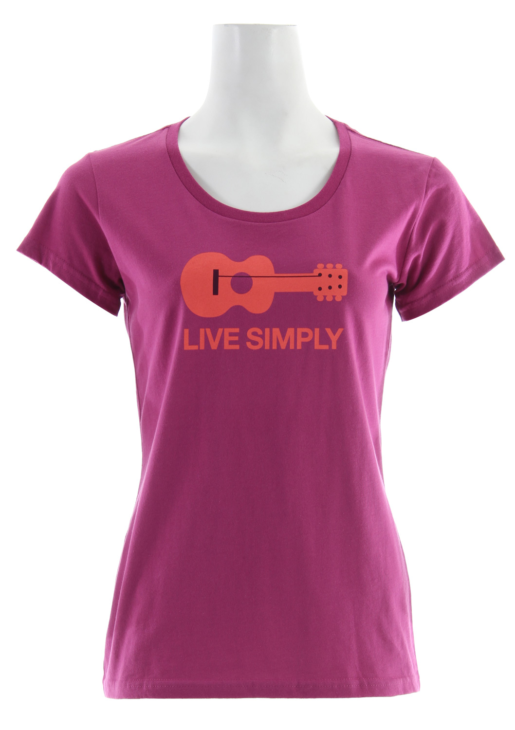 Live life unplugged. The Live Simply Guitar T-Shirt is made of our lightweight 4.4-oz soft, ringspun 100% organic cotton fabric, with artwork by Geoff McFetridge. The Anika fit features a scooped neck and a contoured shape for a feminine silhouette. Taped shoulder seams and double stitched sleeves and hem provide durability; coverstitching at sleeve and neck add a clean finish. Recyclable through the Common Threads Recycling ProgramKey Features of the Patagonia Live Simply Guitar T-Shirt: Screen-print inks are PVC- and phthalate-free Taped shoulder seams for comfort Artist: Geoff McFetridge 4.4-oz 100% organic cotton. Recyclable through the Common Threads Recycling Program 110 g (3.9 oz) Made in USA. Organic cotton is produced using techniques that are healthy and safe for the environment and the people who work and live near the fields where it's grown. Organic cotton is never grown with synthetic chemical fertilizers, pesticides, herbicides or defoliants, nor is it genetically modified in any way. At Patagonia we seek to build the best product and cause no unnecessary harm. That's our mission statement, and it takes many forms. As it applies to making products, we work hard to source materials and use processes that are less harmful to the Earth without compromising quality. Because to us, quality is not only how well a product performs and holds up, but also how it's made. - $17.95