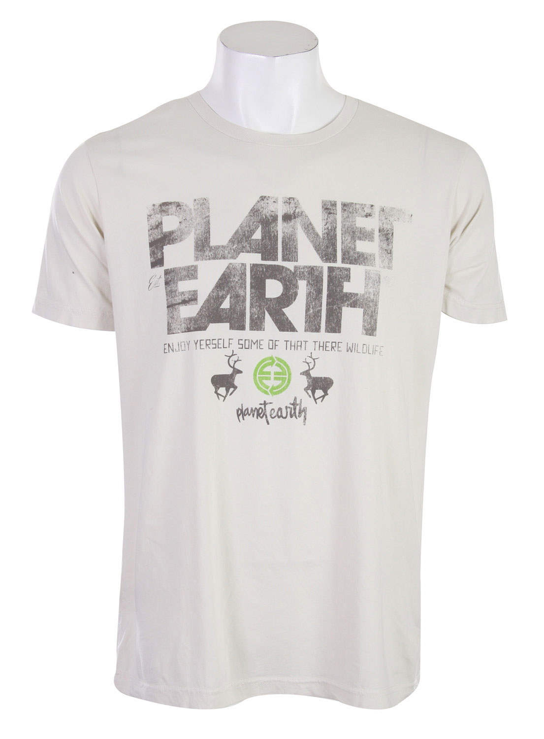 Hunting Would you call yourself a nature enthusiast  Well if you love the great out doors and all that they have to offer, then this  Planet Earth Newman T-Shirt is just the shirt for you. It offers a great design on the front that says Planet earth and then has some nice looking elk. The design isn't flashy at all, it has a more laid back feel to it. It's got an all around natural look to the shirt so you will feel right at home. The shirt is made out of some extremely comfortable material that will have you wanting to sleep in this product. There's nothing better then looking good and being comfortable at the same time.Key Features of the Planet Earth Newman T-Shirt Natural White:  100% Organic Cotton - $11.95