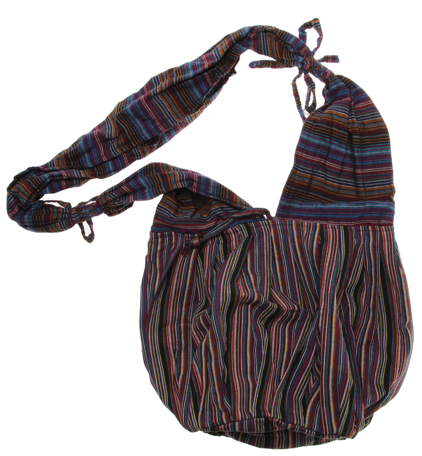 Entertainment Key Features of the Prana Meme Satchel: 100% cotton Cross body styling Vertical stripe woven pattern Tie detailing - $31.95