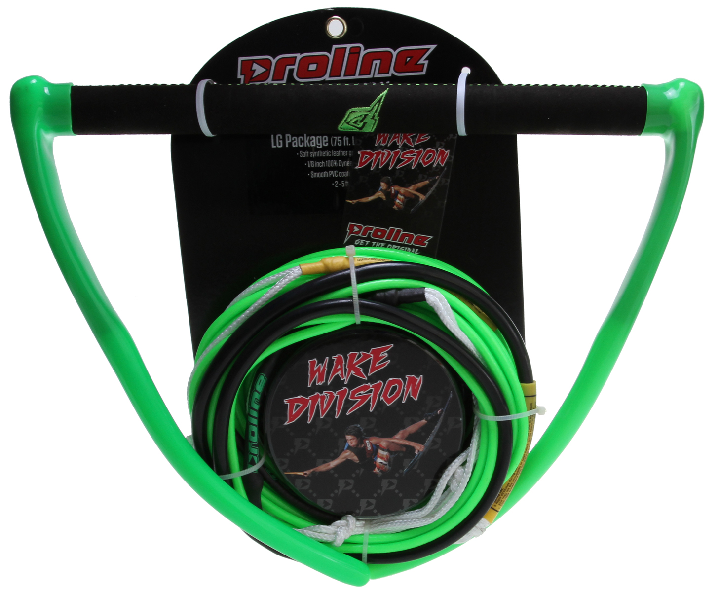 Wake Key Features of the Proline LG Rope/Handle Package 75ft: Soft synthetic leather grip for ultimate comfort 100% Dyneema non-stretch line Single Urethane coated weave for durability Smooth PVC coating eliminates knots 2 - 5 ft sections - $119.99