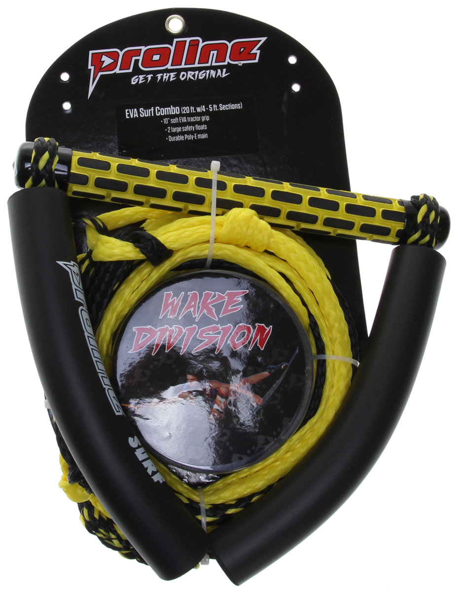 "Surf Key Features of the Proline EVA Surf 10"" Braided w/ 3 Section Rd/Wt 20ft: 10"" soft EVA tractor grip 2 large safety floats Durable Poly-E main 4 - 5ft sections - $44.99"