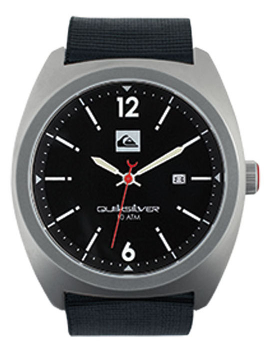 Surf Key Features of the Quiksilver Brigadier Watch: Marine grade solid stainless steel case Marine grade solid stainless steel screw down caseback Reinforced mineral crystal Japanese 3 hand quartz analog movement with date Nylon webbing strap Marine grade solid stainless steel buckle 10ATM 2 year warranty - $69.50