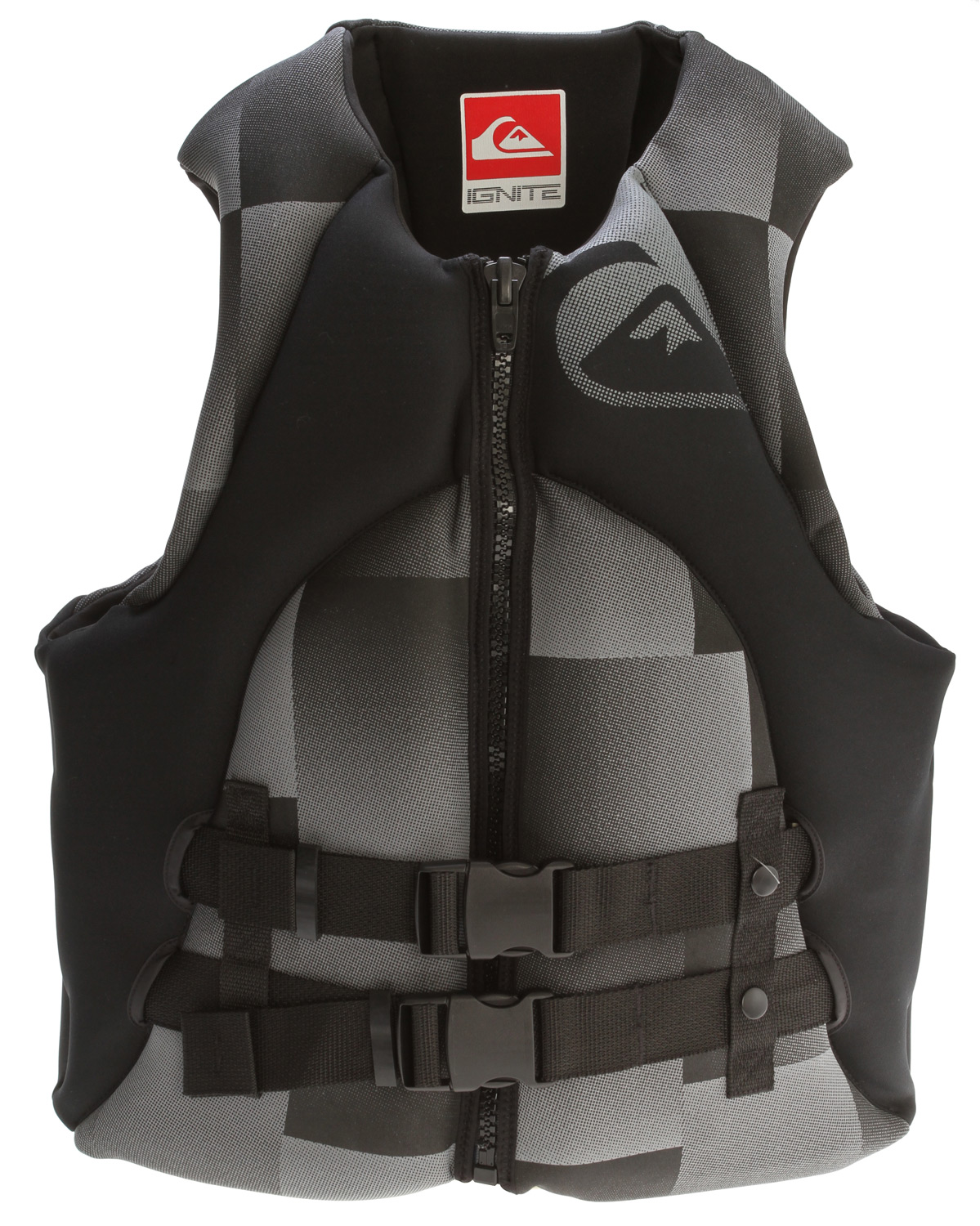 Wake Key Features of the Quiksilver Vengeance USCG Vest: USCG approved PFD Flatlock stitched 2 buckle front zip with hidden back straps Quiksilver custom molded file - $89.95