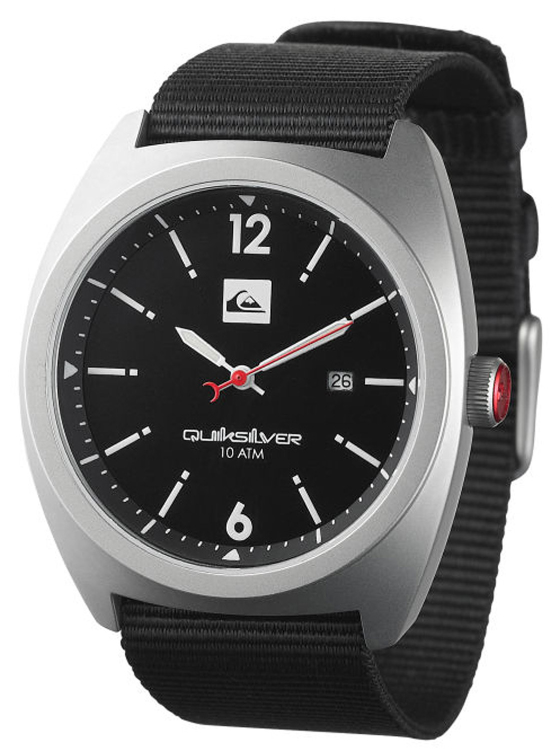 Surf Key Features of the Quiksilver Brigadier Watch: Marine grade solid stainless steel case Marine grade solid stainless steel screw down caseback Reinforced mineral crystal Japanese 3 hand quartz analog movement with date Nylon webbing strap Marine grade solid stainless steel buckle 10ATM 2 Year warranty Case Size 43mm - $74.95