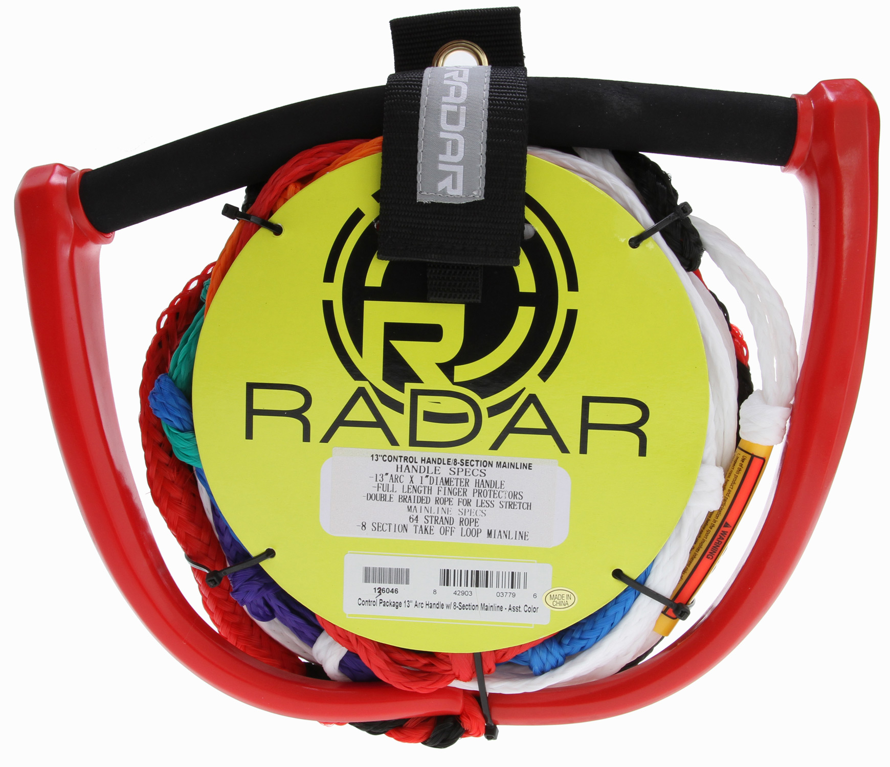 "Wake Key Features of the Radar Control Package 13"" Arc Handle w/ 8 Section Main Line Assorted: 13"" Arc handle. Full Length Finger Protectors 64-Strand 8-Section Mainline for durability Pre-Stretched Assorted colors - $54.99"