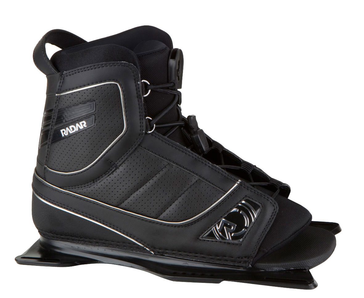 Ski We're not into popularity contests, but if we were, the Vector would probably be named Prom King and have lots of friends online. The Vector waterski binding was 2010's most widely purchased ski boot and makes a return this year lower and lighter than last; the performance and comfort remain the same. The design premise of the boot is simple: build a boot based on comfort and allow it to have tournament level performance characteristics. A slightly higher cuff maintains hard edges and quick transfers, all while cradling your foot in a lasted shell free from foot cramping hot spots.Key Features of the Radar Vector Waterski Bindings w/ Rear Aluminum Plate: Rear binding only FeatherFrame Chassis = 1/3 lower and 1/3 lighter Single 3D molded tongue Double lacing Taller cuff and softer overall flex Narrower chassis for a better fit New footbed with a more defined heel cup and arch New internal construction for a better fit and increased comfort Medium Density footbed drives responsiveness PVC Free construction - $132.95