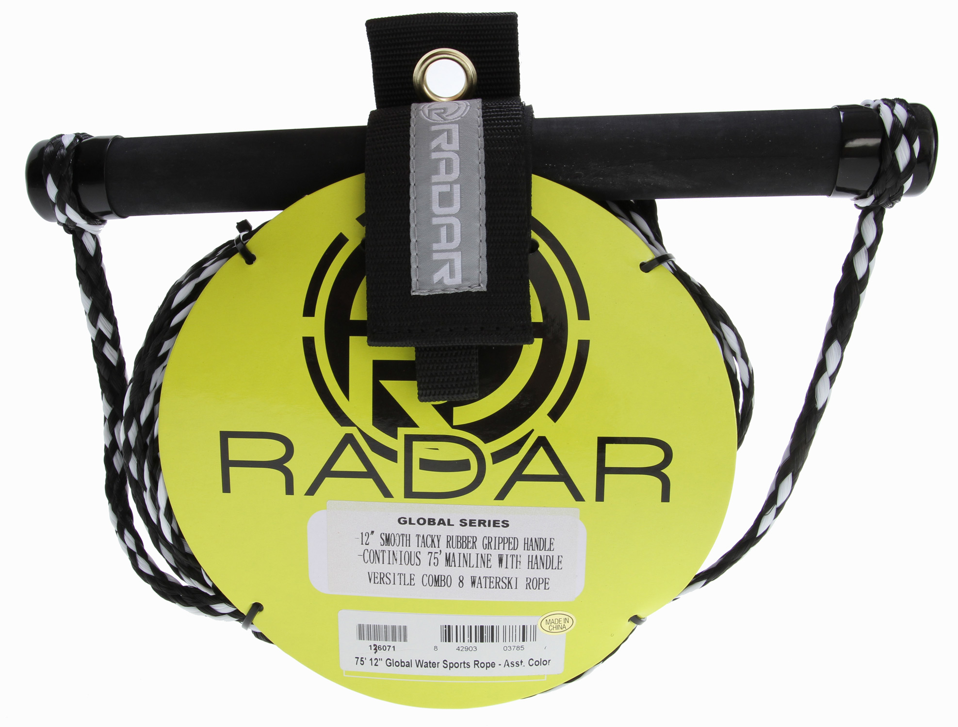 "Wake Key Features of the Radar Global 12"" Handle Watersports Rope Combo 75': 75' Global Water Sports Rope 12"" Smooth tacky rubber gripped handle 70' Mainline Assorted colors - $17.99"