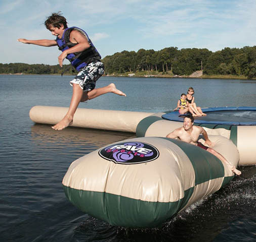 Add the Aqua Launch to your Aqua Jump to send your family and friends flying into the air. Remember, though, that what goes up, must come down. Hard as you may try, you will not stay dry during this flight. Does not include the trampoline in the picture, only the launch attachment. - $419.95