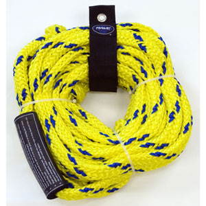 "RAVE's tow ropes have been tested to conform with WSIA standards for the tensile strength requirements of 2-person, 3-person, 4-person, and 6-person tow behinds. WARNING: For the safety of your riders and boat occupants, it is extremely important that a properly rated tow rope is used when pulling tubes with multiple riders. RAVE Sports ropes are clearly labeled with their towing capacity. Each 60 foot rope comes with a 7"" loop at each end and is constructed of 16C braided polypropylene - $29.95"