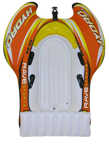 "Wake Equipped with a high-spraying Rave Tail and Skim Fast slick bottom, the Hydro offers a single cockpit with inflatable floors and four molded vinyl handles that's comfortable for one adult rider or two children. Design includes four air chambers with one recessed Boston valve and 3 clear stem valves. 170-lb. capacity. 600-denier polyester cover. 77"" L x 58"" W x 25"" H.Key Features of the Rave Hydro Towable Tube: 4 chambers of heavy-duty 28 gauge PVC. 600D heavy-duty polyester cover with UV-guard repels water 4 molded handles Boston valve Quick Connect tow point 74""L x 56""W x 25""H inflated Weighs 22.5 lbs One-year limited warranty CPSIA compliant - $129.95"