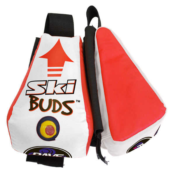 "Ski The Ski Buds have an inflatable air bladder with elastic sleeves that easily and securely slip over the ends of all shape and sized ski tips to help keep your tips afloat when learning deep water starts. The Ski Buds will not interfere with your skiing either! Once you're a pro two-skier, drop a ski and you'll easily be able to find your ski from the bright colors against the water!Key Features of the Rave Ski Buds Inflatable Trainer: Inflated Size 9.24"" x 6"" x 5.75"" Weight 0.6 lbs. Tube Material 24 gauge PVC Cover 210D nylon with Elastic sleeve tip Set-up Time 2 min. - $14.95"