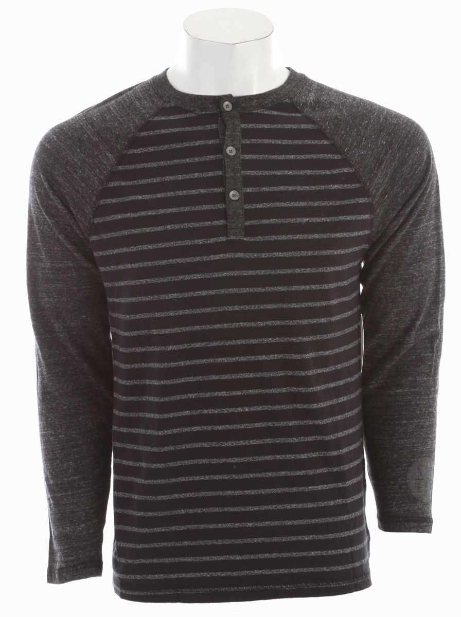 Surf Key Features of the Reef Mister Stripe Henley:  Three button henley with tri-blend sleeves  Screen hit on lower left sleeve  Premium slim fit  Long sleeves  50/38/12 poly/cotton/rayon  Stripe body - 85/12/3 cotton/poly/rayon  Machine wash cold - $34.95