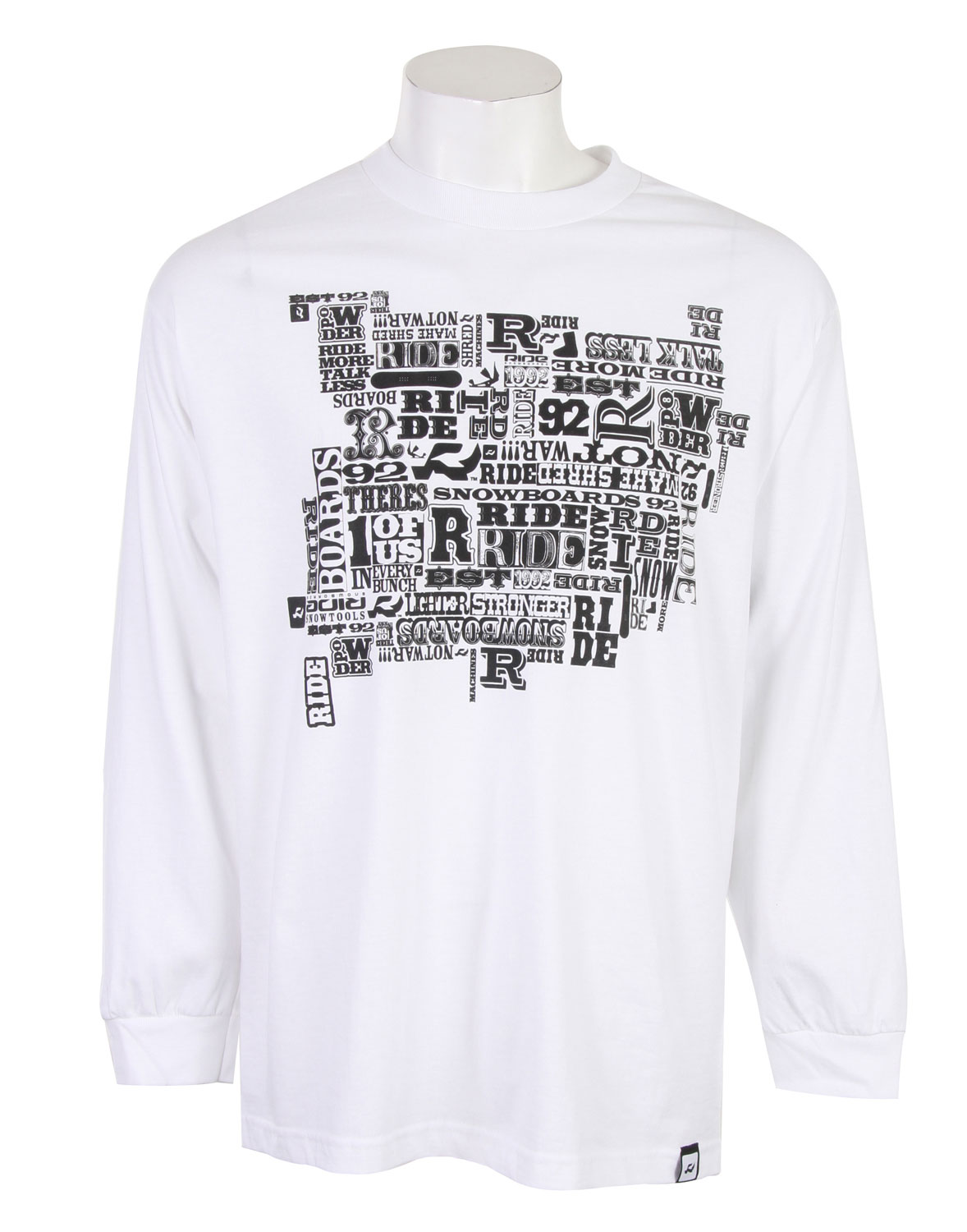 "Ride rocked the art on this long-sleeved shirt. The word ""ride"" and variations on that theme are locked together in varying fonts and orientations across the chest, leaving the impression of an exciting ride yet to come. An embroidered tag on the right hem hip also represents this boarding company. A solid, simple long sleeved shirt is an essential under layer for many athletic pursuits. Why not use your base layer to represent your favorite boarding company? - $12.35"