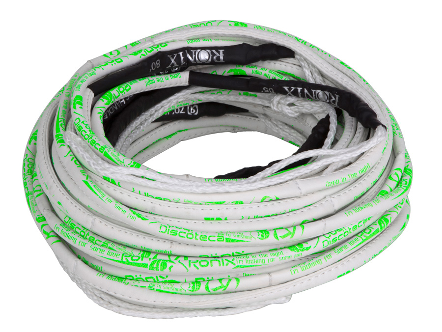 Wake We could sit and tell you all of the performance advantages of our latest high-end mainlines but just hit pause on your background music and just marinate on this image for a second - it's a leather looking rope.Key Features of the Ronix Frank Synthetic 80' 6 Section Mainline: PU synthetic wrap cover - white w/ neon green print ink Strung with 12-strand Japan/Holland Dyneema mix rope Stronger and smaller diameter Coils easily 85ft total length including handle One 60ft mainline Three 5ft sections Two 2 1/2ft sections Frank ridden by Adam Errington - $68.95