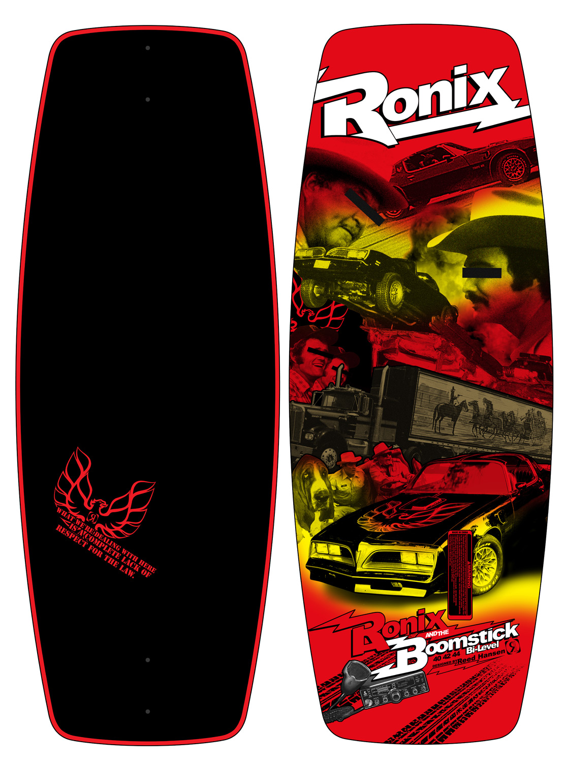 "Wake The day we are writing this copy is the day Reed Hansen won his 5th WWA Wakeskate World title riding his own variation of the heavyweight guardian bi-level deck. This past season, Reed and our skate team, responsible for the original compression molded wakeskate, sourced some new lively materials to throw in a 14 lb. stockier skate, offering more board control on the water and leaving it. The Boomstick is comprised of an all new solid, snappy, skatey, eco-friendly, super saucy wood with a smoothed out concave making it easier to always land on the bolts. A bi-level shape creates a more consistent, quicker swing weight than a traditional single level skate, yet still has the stability for somebody just taking the drop. Reed has been riding a variation of this shape all the way to winning the coveted titles of Wakeboarding and Alliance Magazine's rider of the year. From Georgia to Texas and back in 28 hours flat - this is my Boomstick! ""S marks top of the line""Key Features of the Ronix Boomstick Bi Level Wakeskate: Concave - starts in the center of the board and then tapers to the ends for a more controllable flip Hybrid Rocker - isn't too explosive, or inconsistent off the wake, instead you'll get more glide speed from this arc Compression Molding - the most durable wood skate out there The poppiest wood we have ever tested 2- .8"" wakeskate specific fins Reed Hansen designed and endorsed - $279.95"