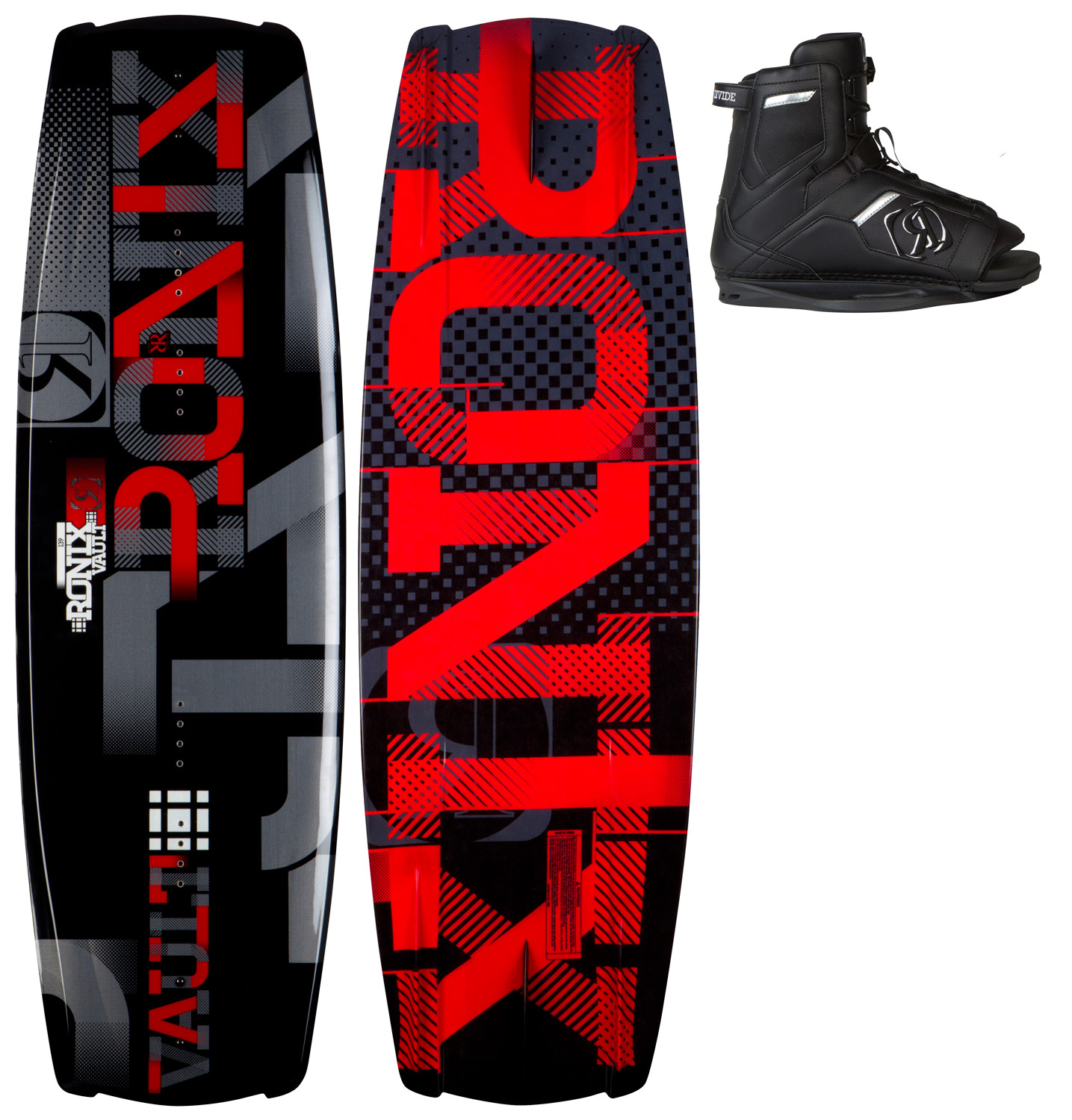"Wake Gone are the days of leaving the wake's transfer in an unnatural position. The innovative Vault recognizes that your body is crossed up riding toeside, and takes this into consideration with the design of the rocker, and fi n shape/placement. This profile allows the rider to point the board with maximum grip to the wake without requiring excessive attack angle. The design of the heelside was created for a rider facing the boat with a more natural position to point the board to the wake. Who said asymmetrical was only for entry-level riders? Many WWA Nationals and Worlds have been won on the Vault - a series with no limits takes features from several boards in our line. This ride is a platform to develop your riding style - allowing a rider to stand more efficient - redefining the demands needed for the latest in toe/heelside versatility. With the latest in ease of entry and open toe adjustability built with our industry standard, high memory foam the Divide is our most popular open toe boot. Support you would expect from a pro model boot, and ease of entry that will let you save your energy for after you have jumped off the swim deck. In fact, this boot has features that are not found in some of the other models in the line. Notably, this boot is the lightest boot we have ever made. Built with ultra-light, ultra-cush, Stage 1 foam to create the foundation of a fi ne piece of footwear. The fi nest in ease of entry and open toe adjustability.Key Features of the Ronix Vault Wakeboard: Toeside rail is thinned out to sit deeper in the water creating additional grip from this sharp profile Toeside fi ns are deeper, longer and closer to the rail for a strong/stable edge hold Heelside rail starts off softer/fuller for a mellower transition, then blends to a more vertical sidewall with less resistance on the water Heelside fi ns are shorter and further from the rail for a quicker release on spinning tricks 4 molded asymmetric fi ns shape - track true in a straight line, but break free easier with more fl oat in a side slide position A wider profile creates a bigger sweet spot riding in any water condition 2 fiberglass 1.7"" fi ns Key Features of the Ronix Divide Boots: Universal tongue - our most adjustable boot fitting multiple sizes Built in J-bars improve heel hold Articulating cuff - the boot fl exes with the rider without boot distortion Low friction eyelets Designed with the everyday rider in mind - $349.99"