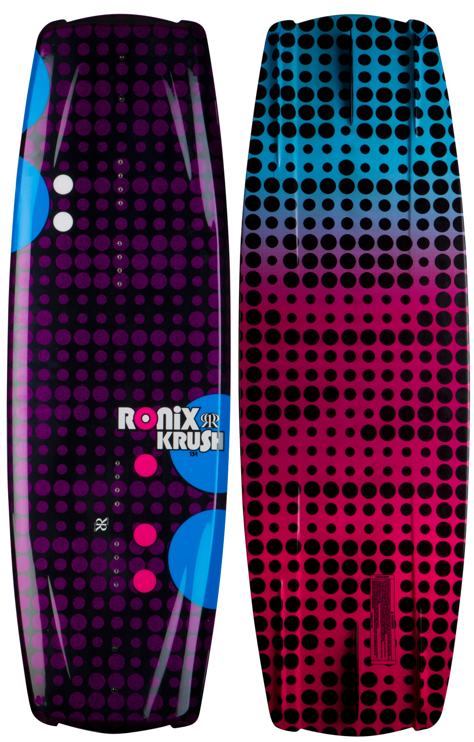 "Wake The latest generation of boards are built with the understanding that your body is working against the boat on a toeside edge. This revolutionary shape allows a rider to edge more effectively into both sides of the wake redefining the demands needed for toe/heelside versatility. Gone are the days of leaving the wake's transfer in a unnatural position. The Krush recognizes that your body is crossed up riding toeside, and takes this into consideration with the design of the rocker, and fi n shape/placement and sharper profile. This allows the rider to point the board with maximum grip to the wake without requiring excessive attack angle. Who said asymmetrical was only for entry level riders? Many contests have been won on the WWA Nationals and Worlds - a series with no limits takes features from several boards in our line. The 2012 Krush - a platform to develop your riding style without any restrictions with our unconventional Secret Flex layup offering more contact with water and softer more controlled landings.Key Features of the Ronix Krush Wakeboard: Toeside rail is thinned out to sit deeper in the water creating additional grip from this sharp profile Toeside fins are deeper, longer and closer to the rail for a strong/stable edge hold Heelside rail starts off softer/fuller for a mellower transition, then blends to a more vertical sidewall with less resistance on the water Heelside fi ns are shorter and further from the rail for a quicker release on spinning tricks 4 molded asymmetric fi ns shape track true in a straight line, but break free easier with more float in a side slide position Wider profile creates a bigger sweet spot riding in any water condition 2 fiberglass 1.7"" fi ns Designed by Mike Ferraro and our development team - $299.95"
