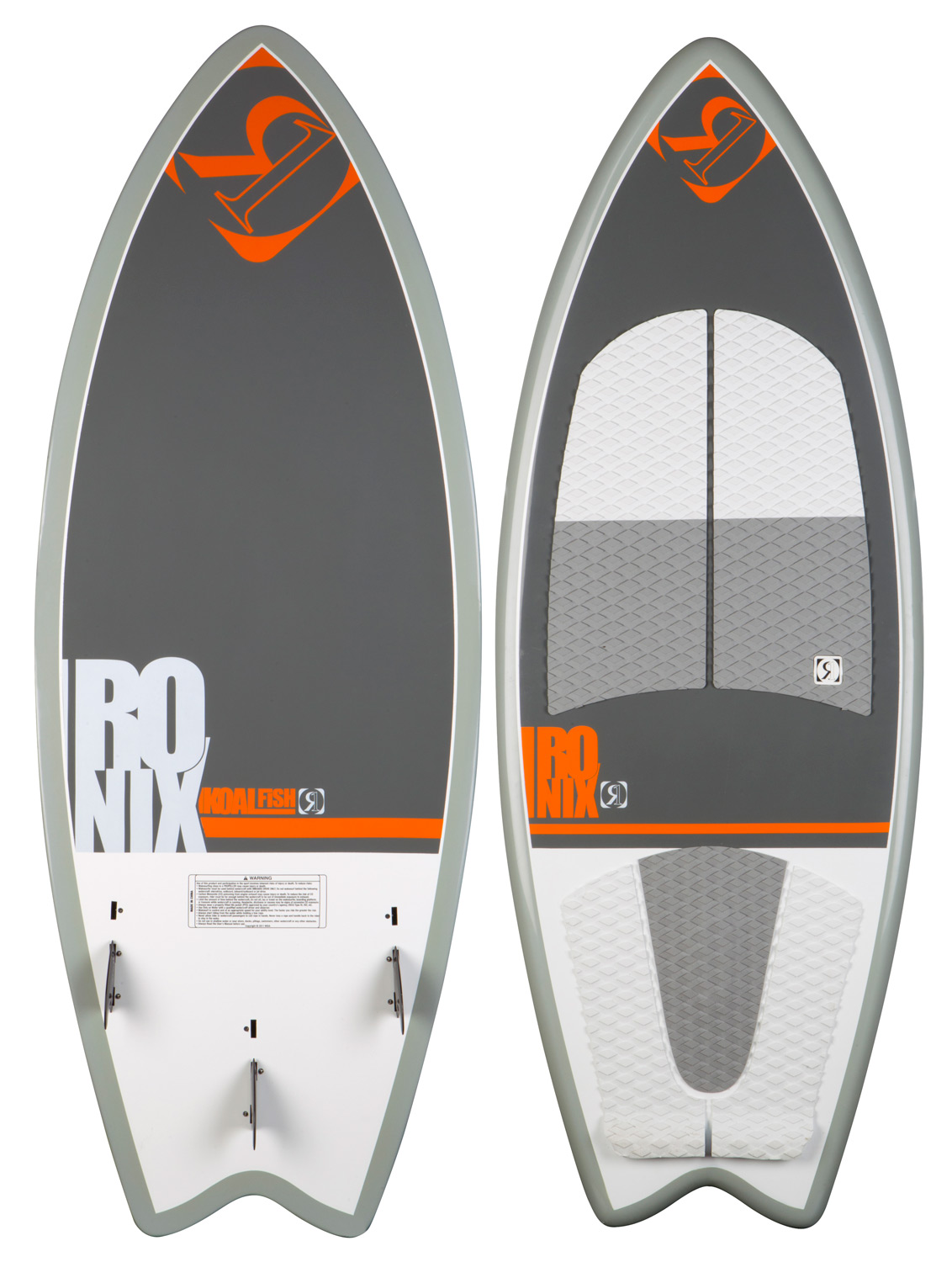 "Surf Over a decade of designing wake surfboards has resulted in our latest version of our top selling Koal series with new adjustable fin options - giving the rider the ability to customize their ride for a tighter or looser feel. A fish profiled ""fun"" board - the Koal can throw the deck on rail with the versatility to break free on the top of the wake, yet still has the versatility to throw a bucket on the lip with it's reactive 3 fin recessed fin block and fast profile. This speedy shape rides high on the water with a full rail and our exclusive surf constructed core creating more glide speed. The Koal's shape and construction is a perfect ride for inlanders looking for a universal ride with wake slashing performance. Available in 3 lengths covering the spectrum of riders and wake sizes. Throw your fin screws away - the Koal series comes with cleaner profiled fins that have a fin box recessed right into the board.Key Features of the Ronix Koal Fish Wakesurfer: Machined EVA top deck with built in tail wedge A fast rocker line, with a hard edging/stable profile and rail design Surf specific 2.9"" bottom mount fins Surf constructed - lighter, faster, more buoyant, and yes more fragile (handle with care) Epoxy Construction - harder resin equals a stronger board The soul of surfing is ridden by the former WWA World Champion Dean Smith and WWA National Champion Adam Errington - $430.95"