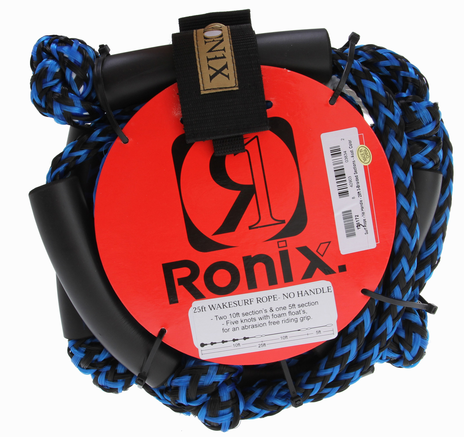 "Surf Key Features of the Ronix Surf Rope No Handle 25Ft: 5 - 4"" diameter knots with foam floats for a abrasion free riding 14"" hide with embroidery grip 0.94"" handle diameter 60ft low stretch PE mainline w/4-sections Filled inside with EVA for flotation (assorted colors) - $44.99"