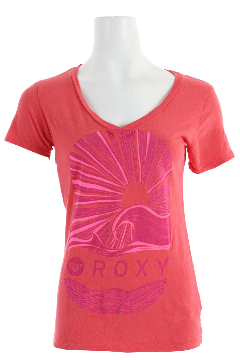 "Surf The Roxy Hello Sunshine Shirt lets you absorb sun rays to your full pleasure.* Regular Fit * V Neck * Short Sleeve * 100% cotton jersey * Vneck tee with discharge * Vintage wash * 26"" hps - $21.95"