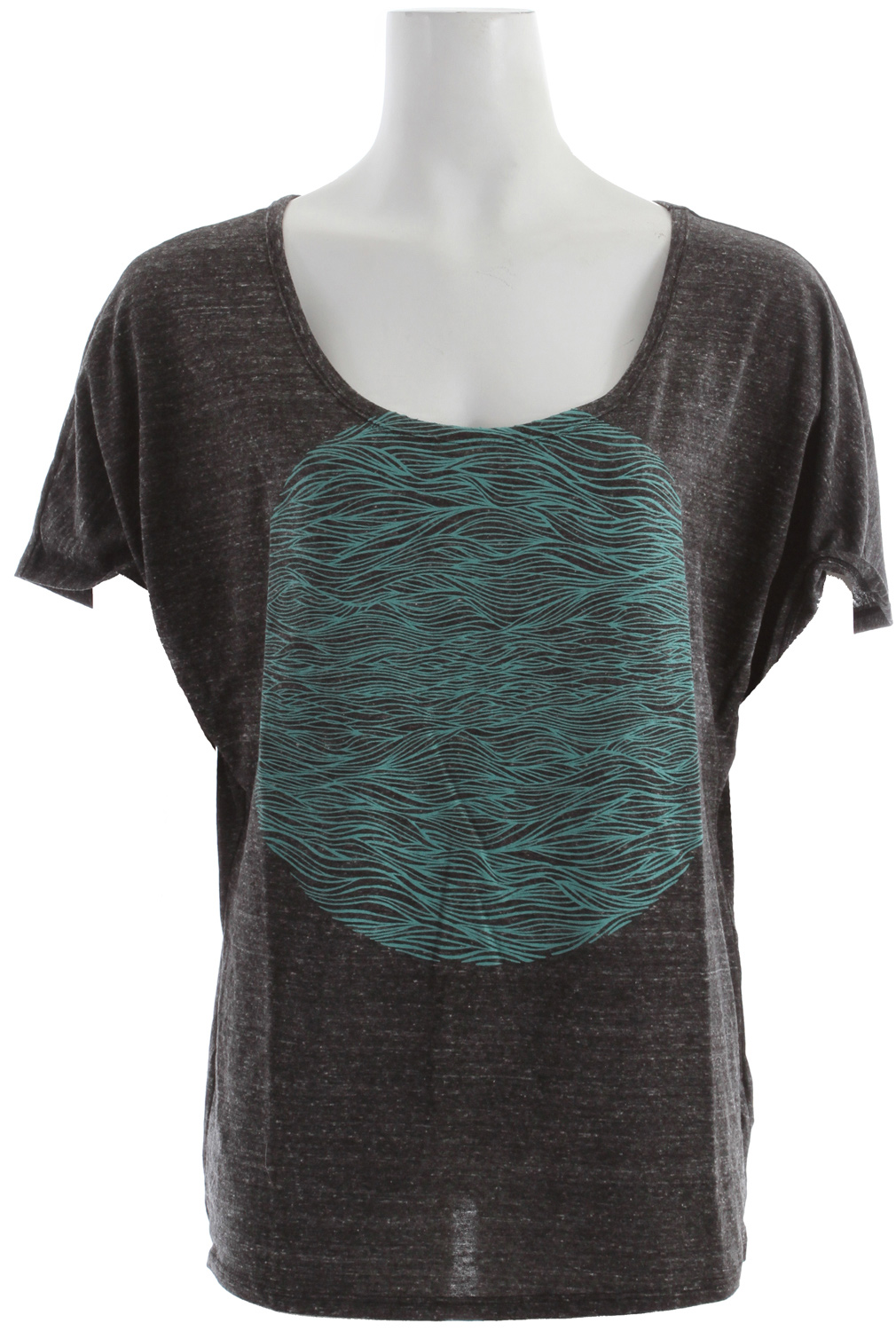 "Surf Key Features of the Roxy Waves On Waves T-Shirt: Triblend jersey Dolman tee with discharge 26"" hps - $26.95"