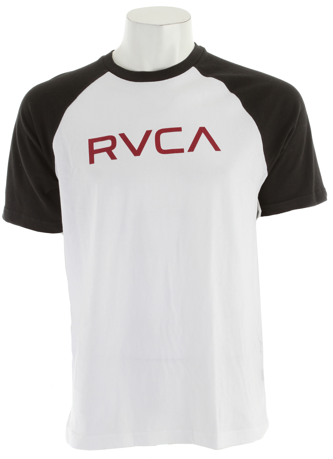 Sports Key Features of The RVCA Big RVCA Raglan Shirt White/Black: Regular Fit Crew Neck Raglan 30/1 100% cotton baseball raglan Front screenprint and screened inside neck - $32.00