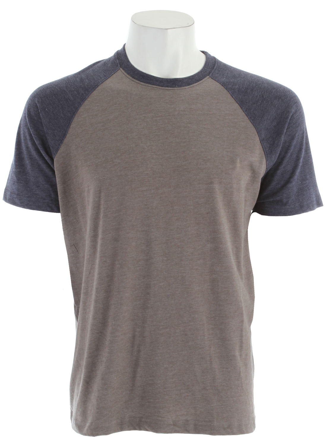 Key Features of The RVCA Camby Shirt Gray Noise: Regular Fit Crew Neck Short Sleeve Regular fit 50% cotton/50% polyester jersey Short sleeve crewneck shirt with ribbing at neckband RVCA screenprinted logo at wearer's left sleeve and back neck Contrast sleeves and neck band - $30.00
